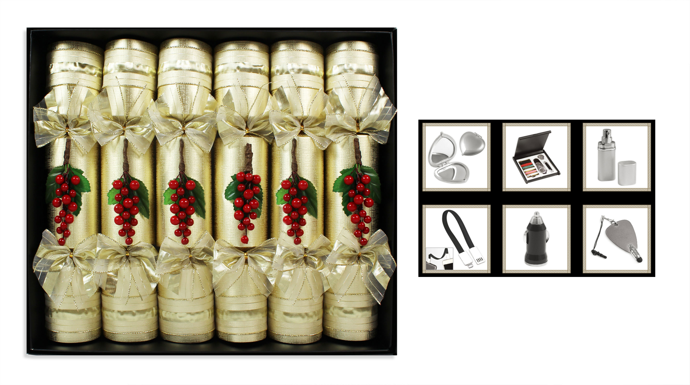 Luxury Xmas Gifts: Christmas Crackers Hand Made Box Of 6 Various Designs