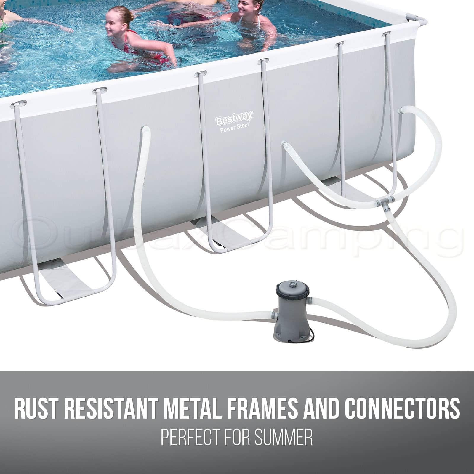 BESTWAY ABOVE GROUND Swimming Pool Power Steel Rectangular Frame ...