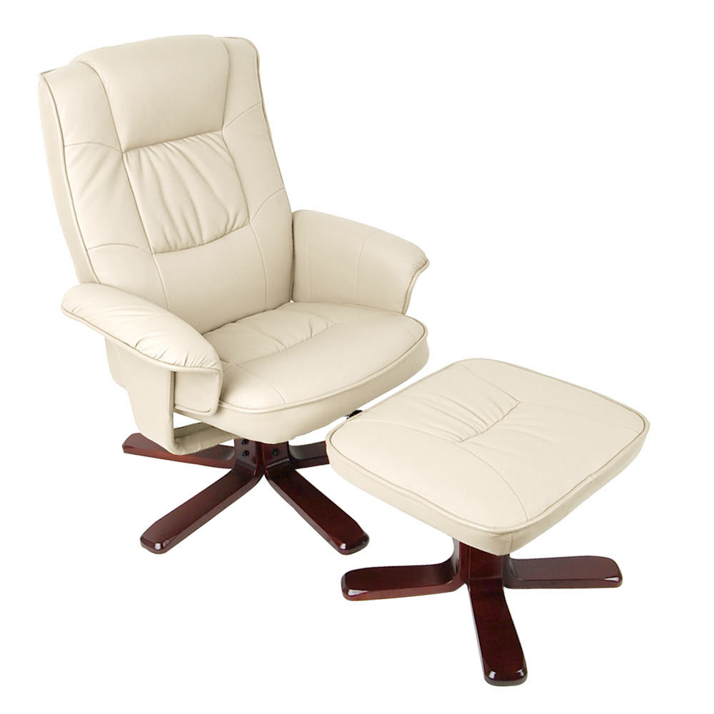 Lounge Office Chair Recliner Ottoman Set PU Leather Wood ...