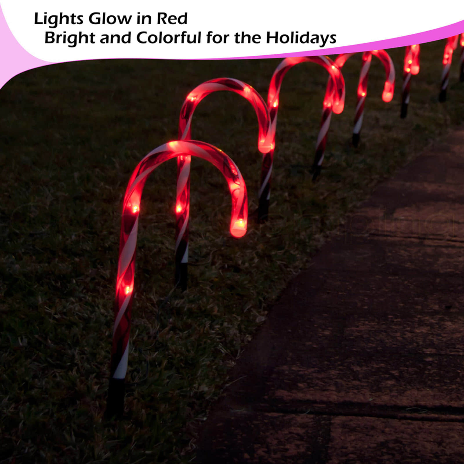 20pc Outdoor Christmas Lights LED Mini Candy Canes Path Cool White