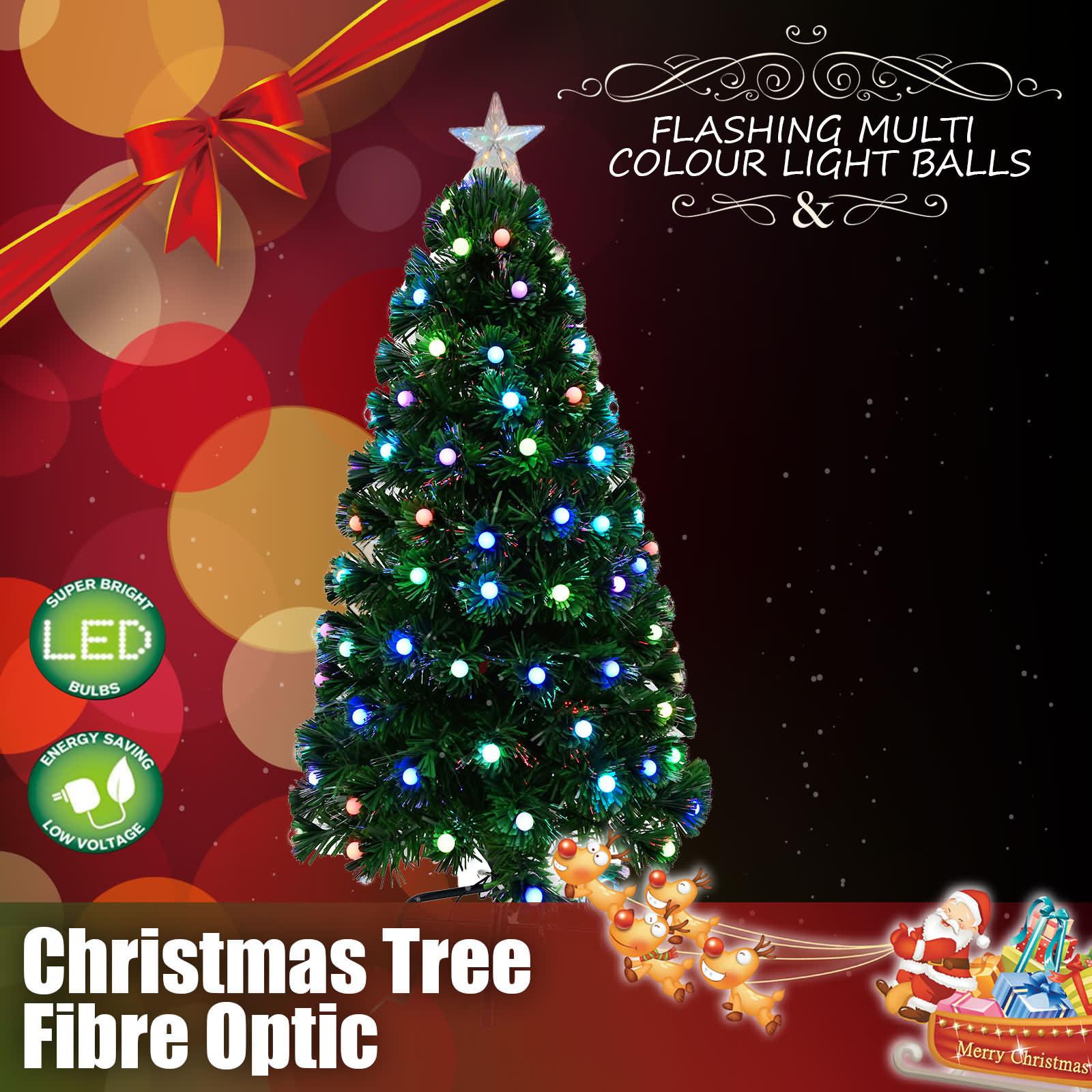 Christmas Light Balls.Details About Christmas Lights Tree 130pc Led Xmas Light Fibre Optic Multi Flashing Balls 4ft
