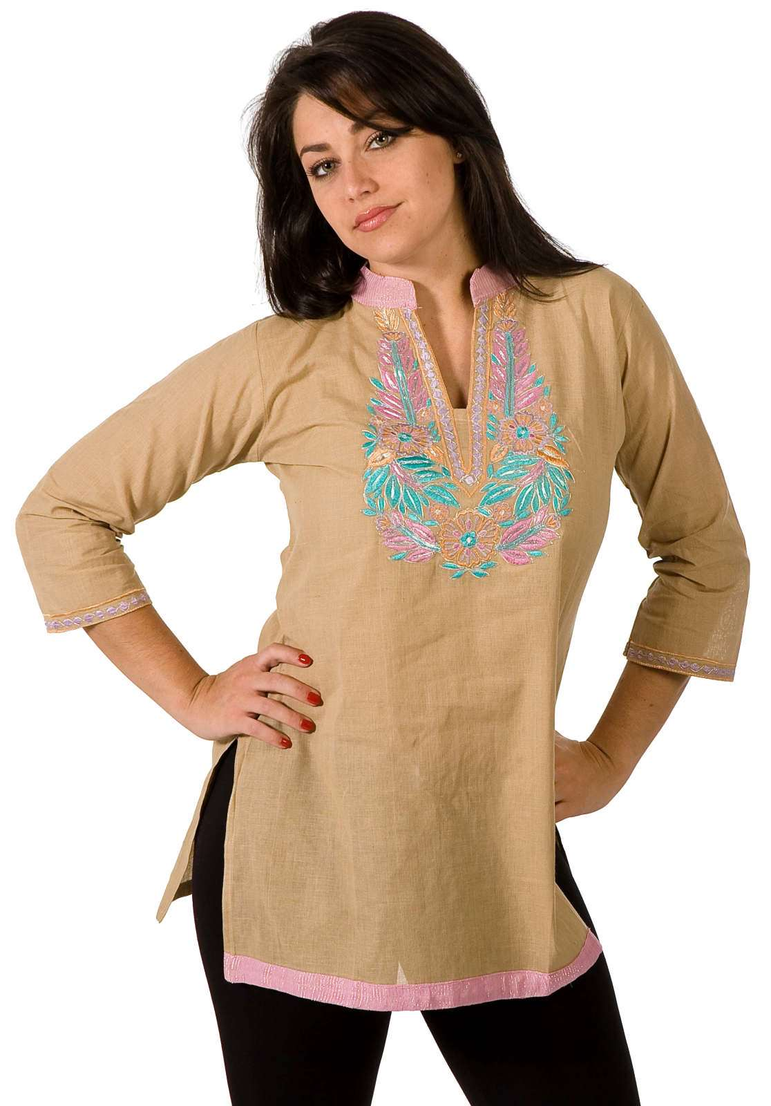 Cotton KurtiTunic w embroidery work and contrast collar-Medium plus size,  plus size fashion plus size appare