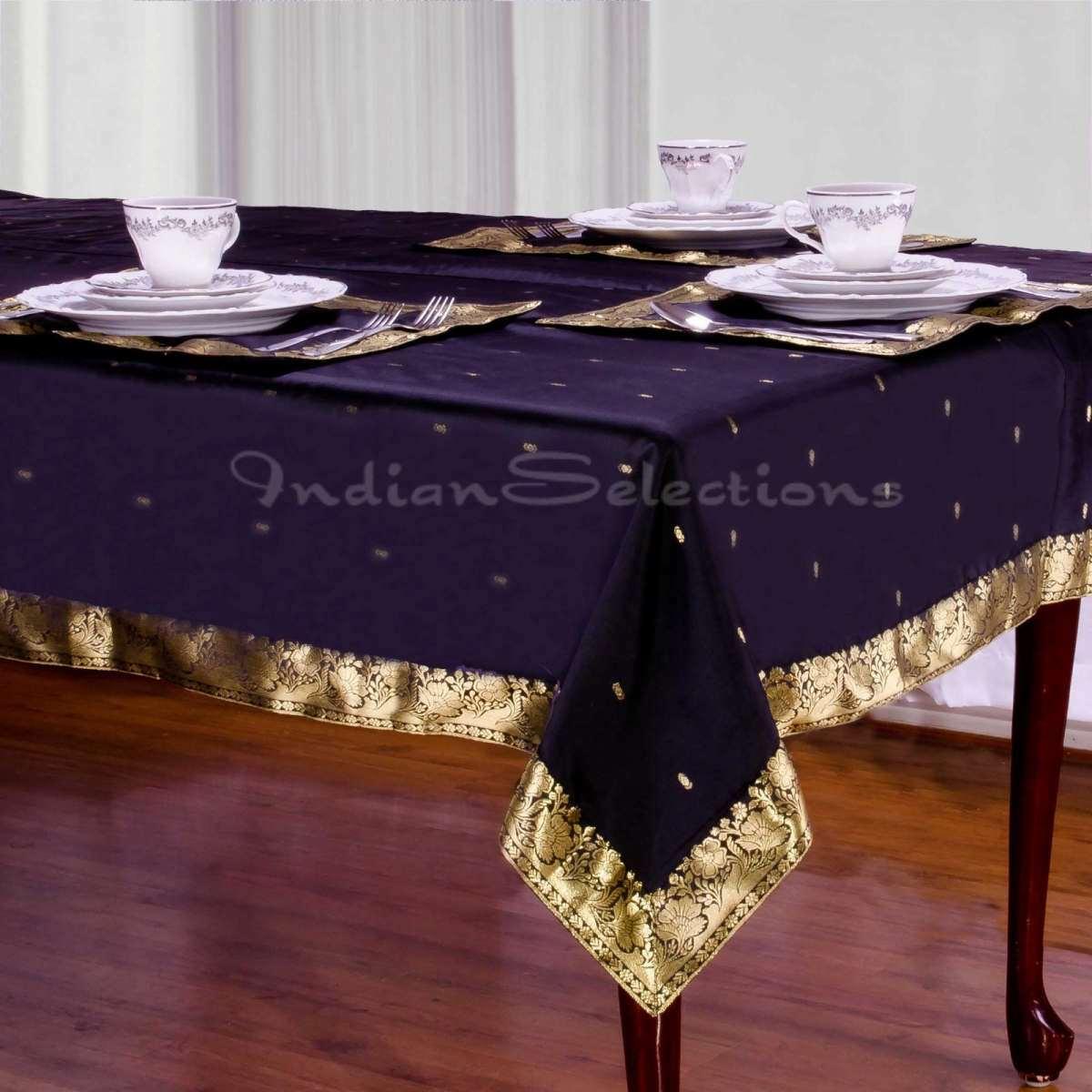 "Black - Handmade Sari Oblong Tablecloth (India) - 52"" X 70"""