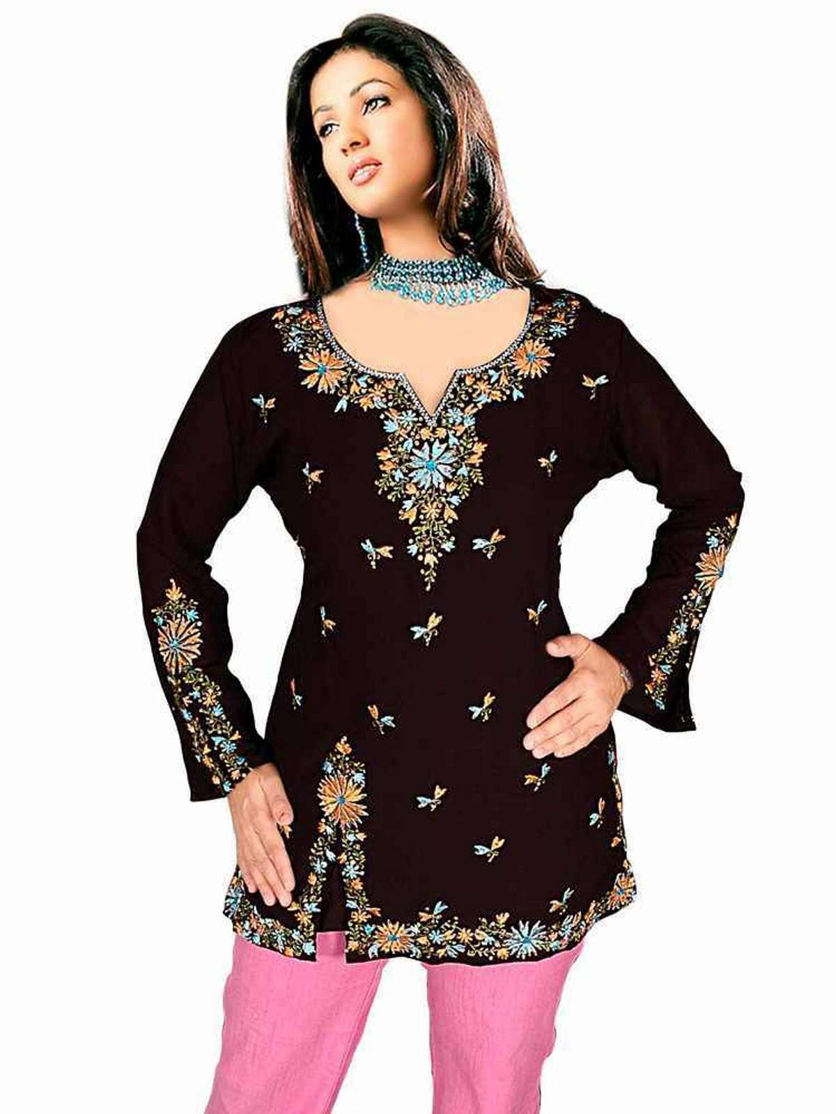 Black long sleeves KurtiTunic with designer embroidery work plus size,  plus size fashion plus size appare