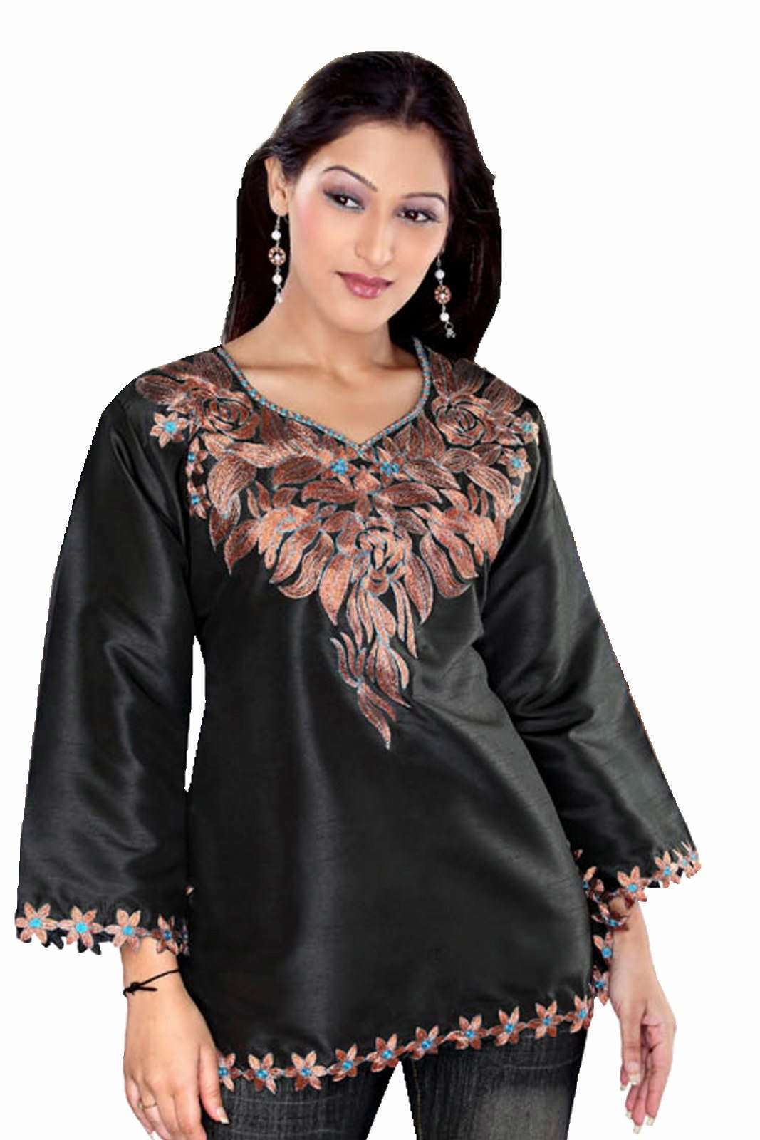 Black long sleeves Art silk KurtiTunicCaftan with embroidered neckline plus size,  plus size fashion plus size appare