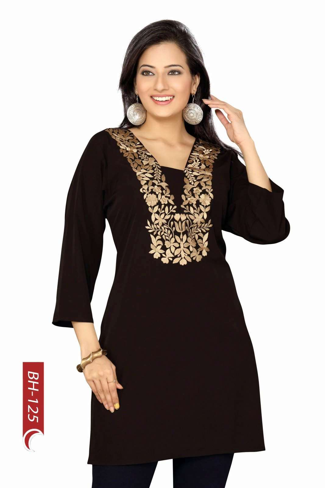 Black crepe kurti Tunic with golden embroidery-Large plus size,  plus size fashion plus size appare