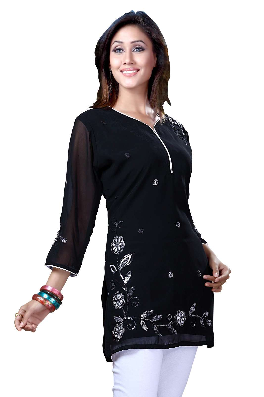 Black Georgette 34 sleeves KurtiTunic with white thread embroidery plus size,  plus size fashion plus size appare