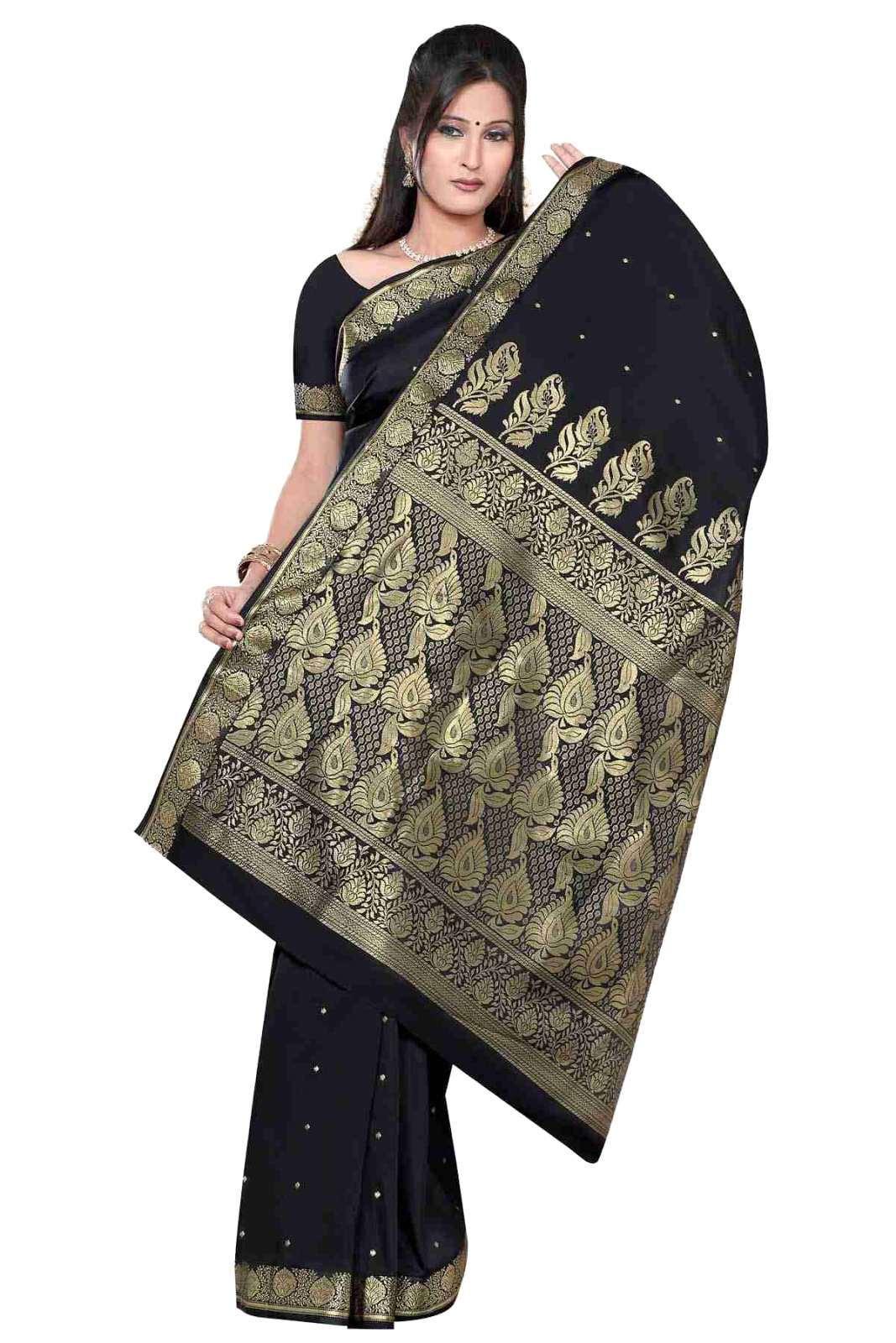 Black - Benares Art Silk Sari Sareebellydance Fabric (india)