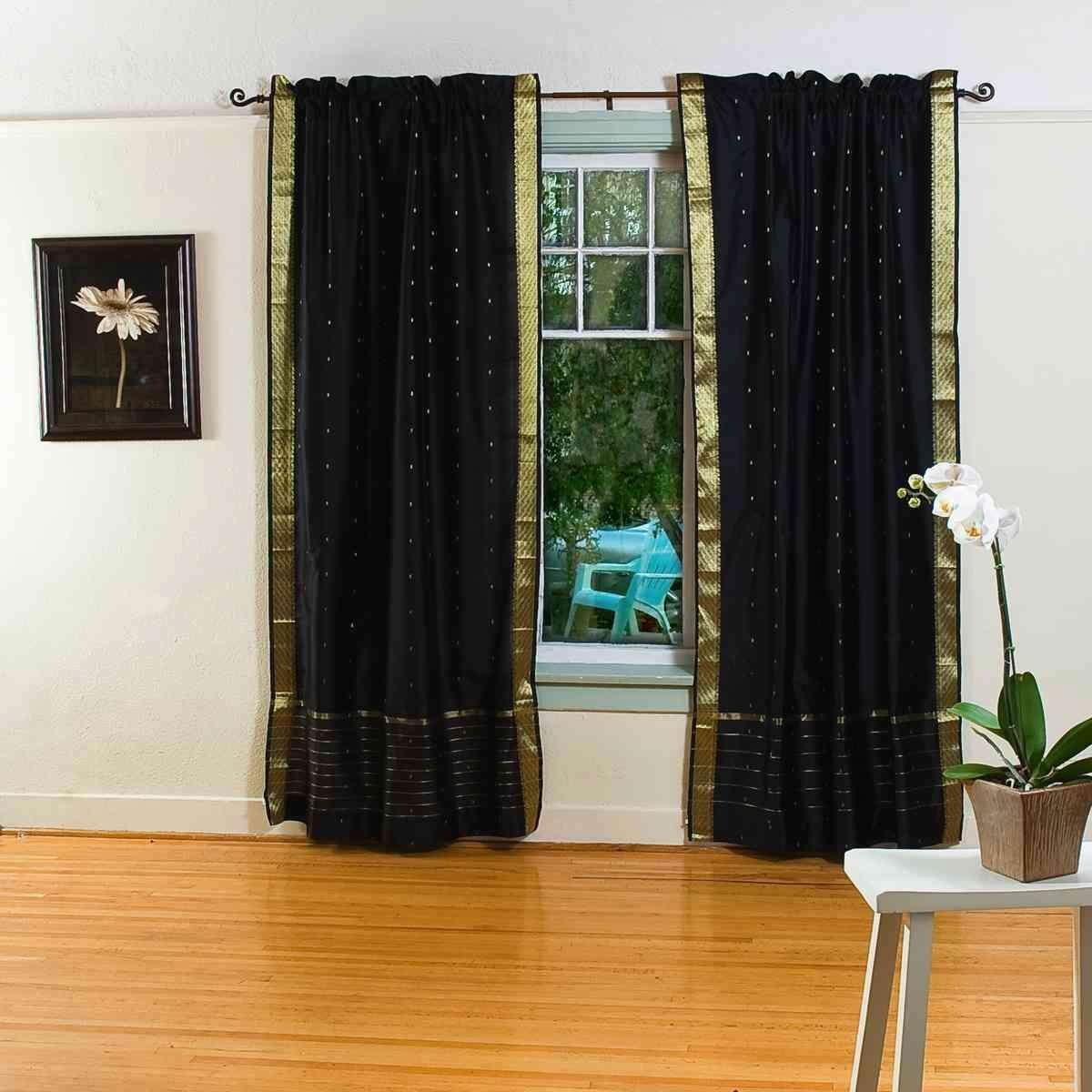 Black 84-inch Rod Pocket Sheer Sari Curtain Panel (india) - Pair