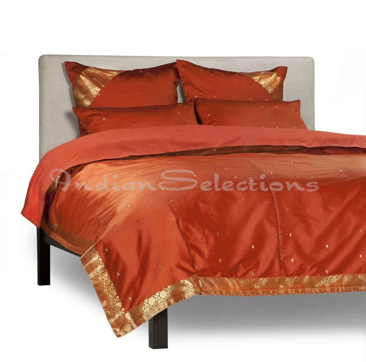 Rust-5 Piece Handmade Sari Duvet Cover Set with Pillow Covers  Euro Sham-Full