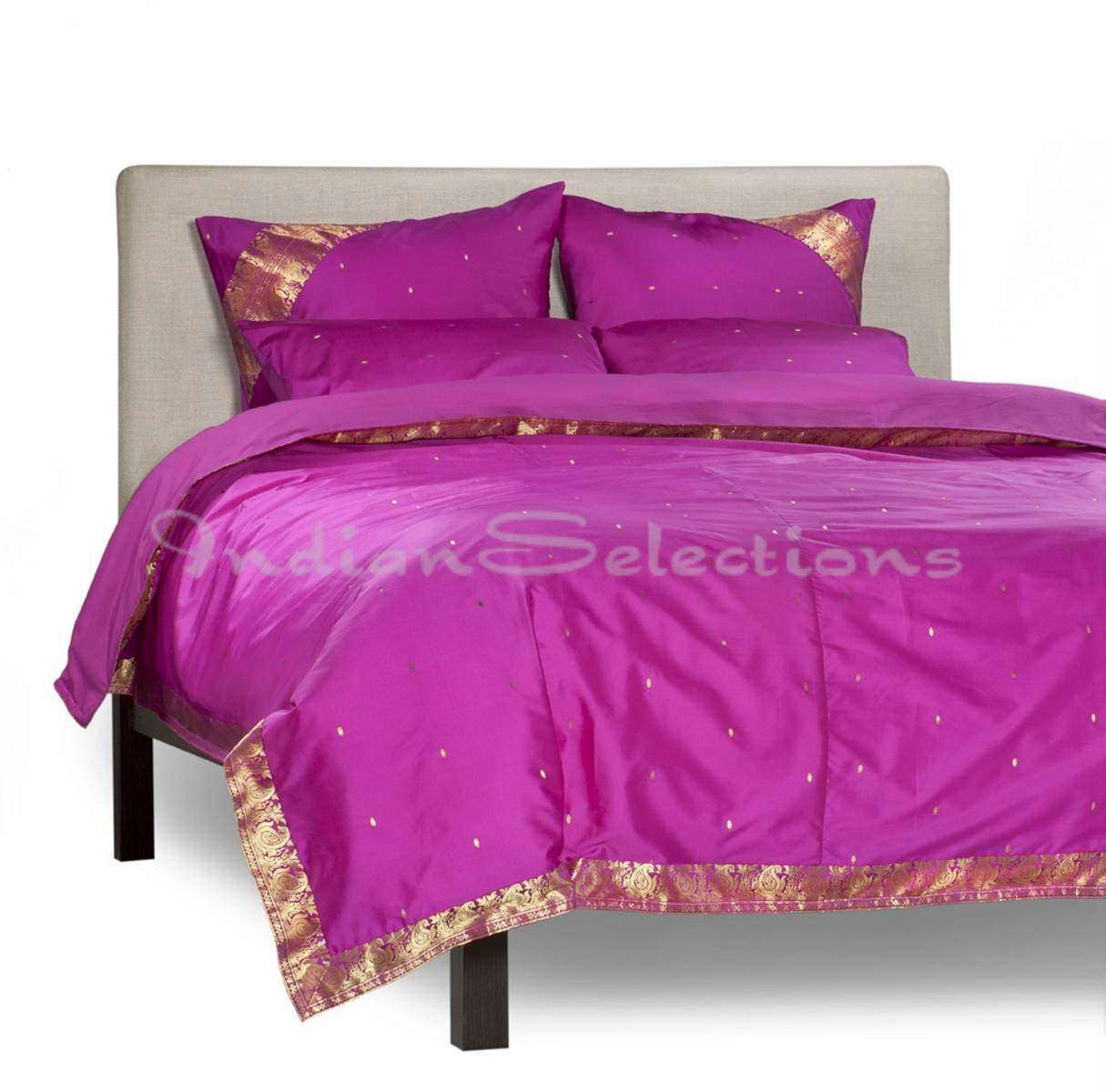 Violet Red-5 Piece  Sari Duvet Cover Set w Pillow CoversEuro Sham-Queen