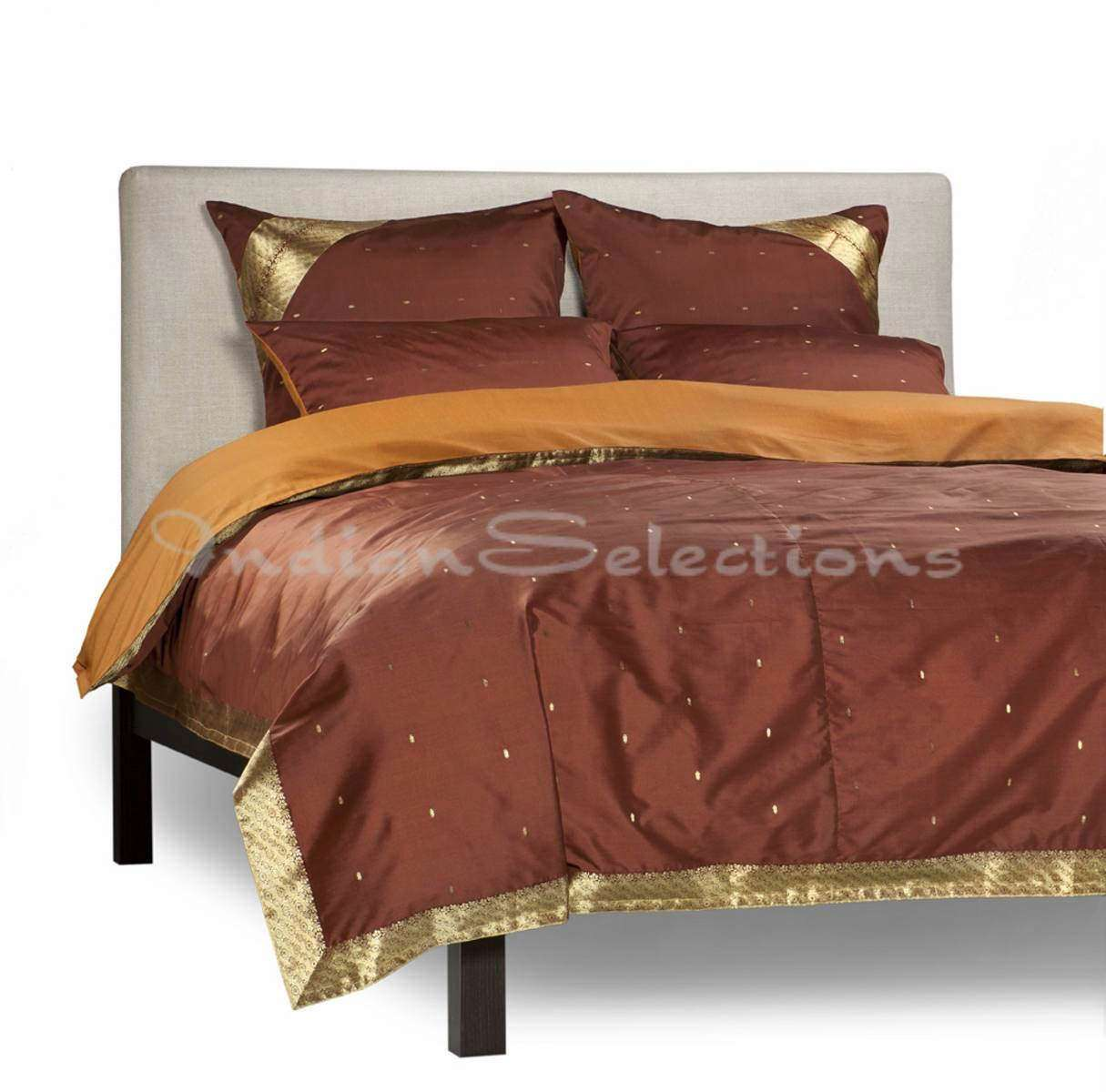 Brown-5 Piece Handmade Sari Duvet Cover Set with Pillow Covers  Euro Sham-Queen