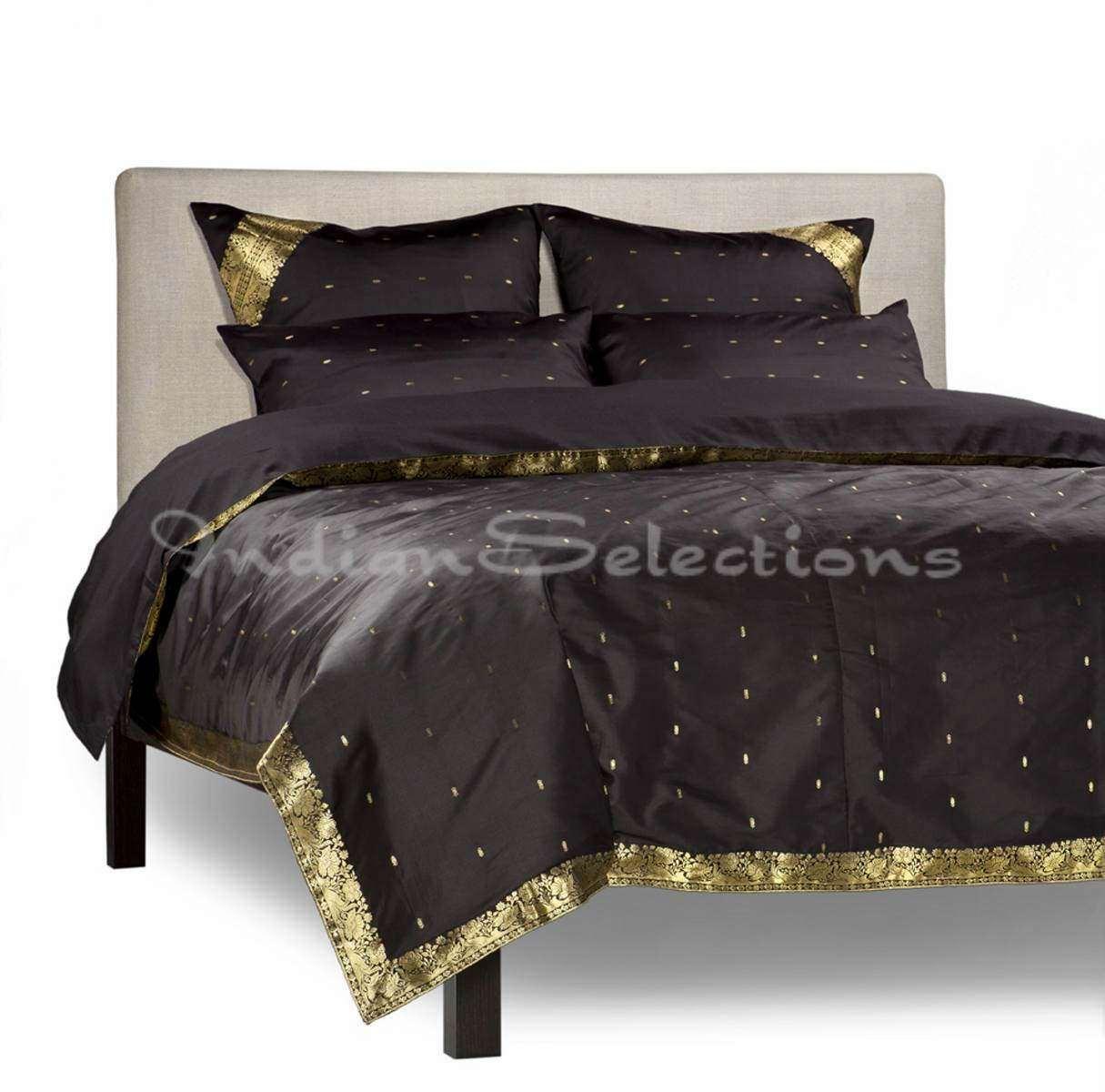 Black - 5 Piece Handmade Sari Duvet Cover Set With Pillow Covers Euro Sham