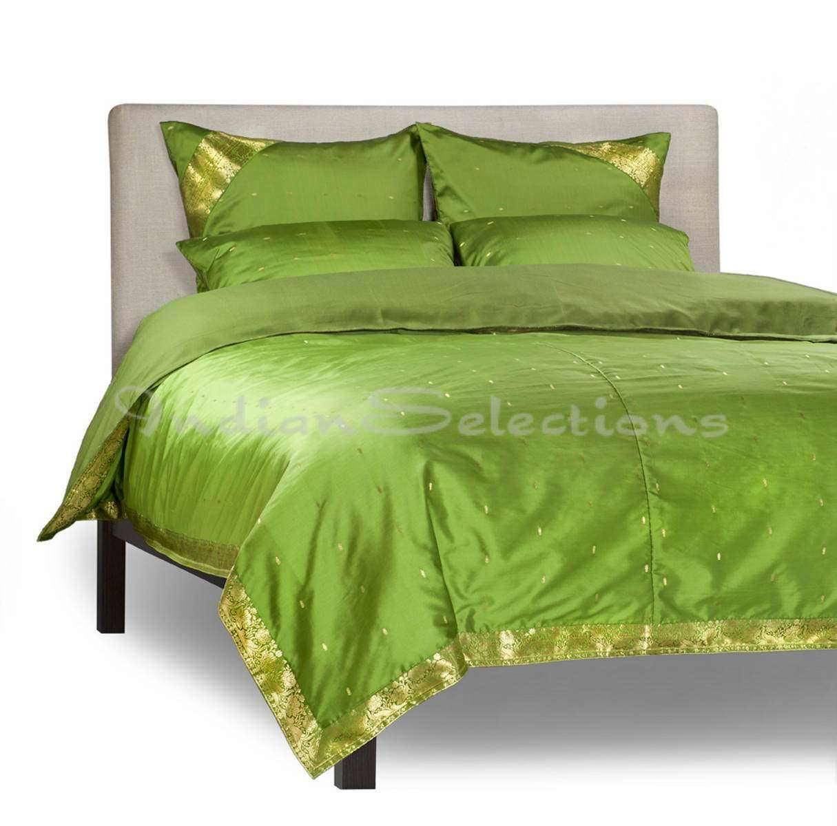 Forest Green-5 Piece  Sari Duvet Cover Set w Pillow CoversEuro Sham-Full