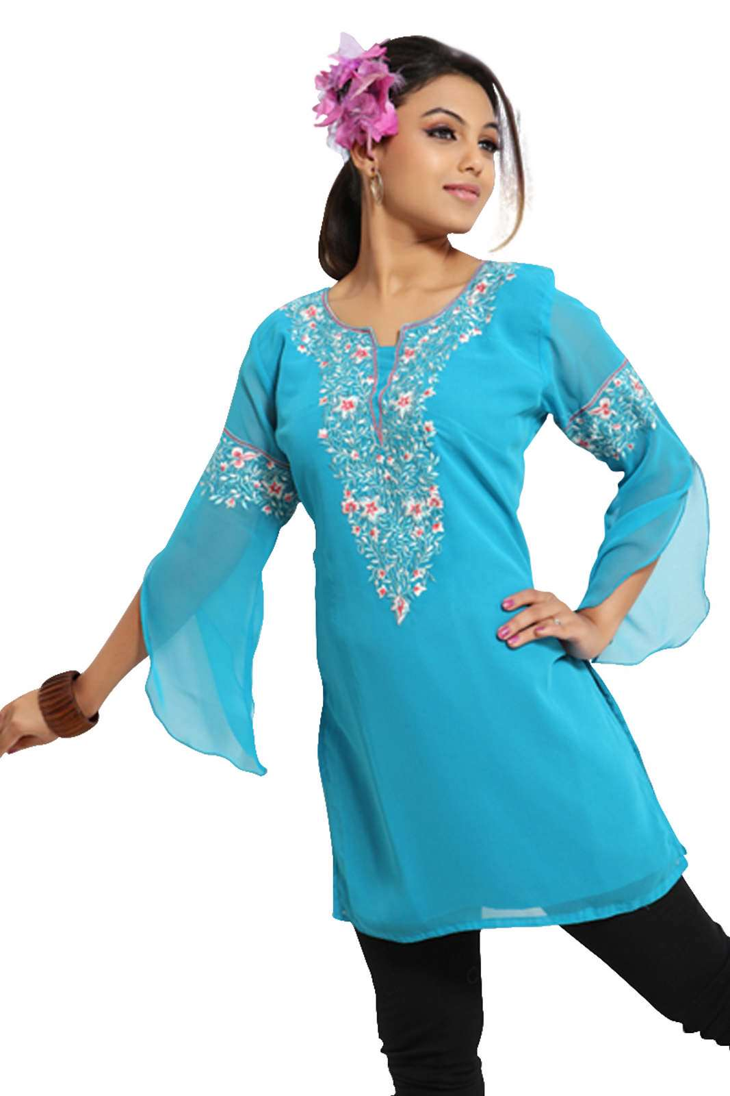 Blue 34 sleeves Georgette KurtiTunic w designer embroidery-X-Large plus size,  plus size fashion plus size appare