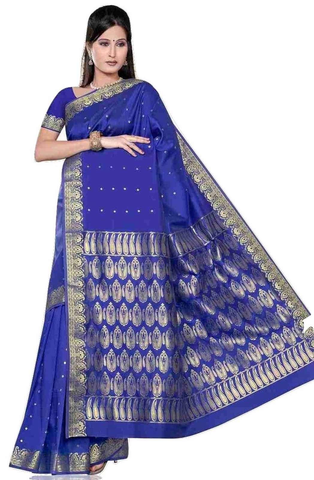 Blue -  Benares Art Silk Sari  SareeBellydance Fabric (India)