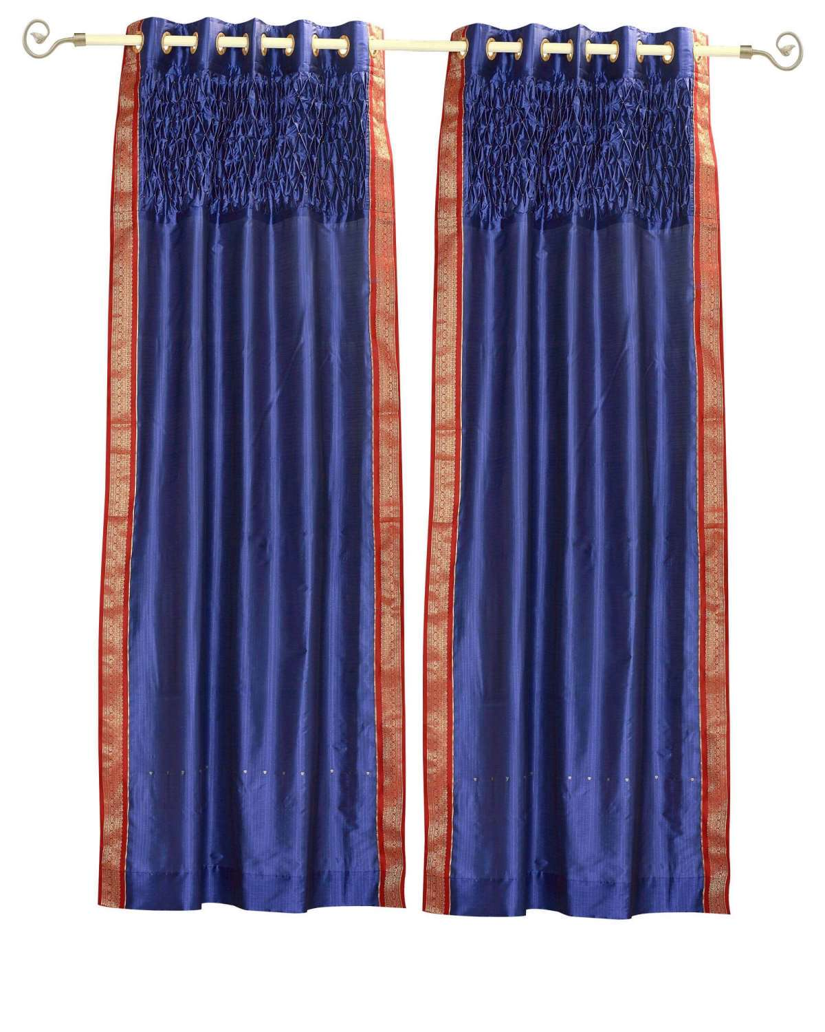 Lined-Blue Grommet Top Sheer Sari Curtain Panel with beaded hand design-43Wx84L-Piece
