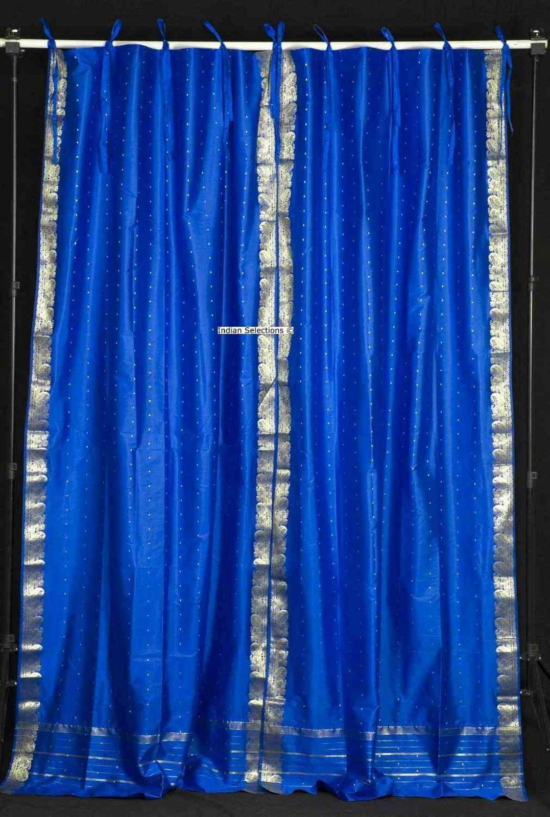Lined-Island Blue  Tie Top  Sheer Sari Curtain  Drape  - 80W x 120L - Piece