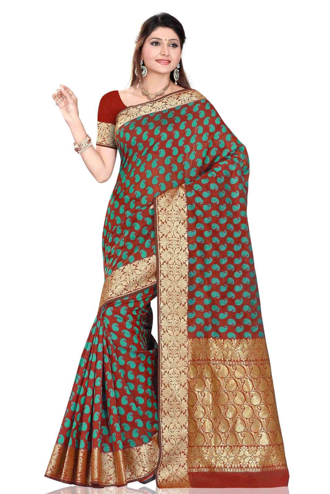 Brown with sea green Art Silk Sari Saree bellydance wrap
