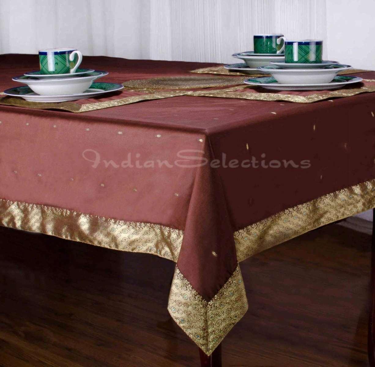 "Brown - Handmade Sari Oblong Tablecloth (India) - 60 x 120"""