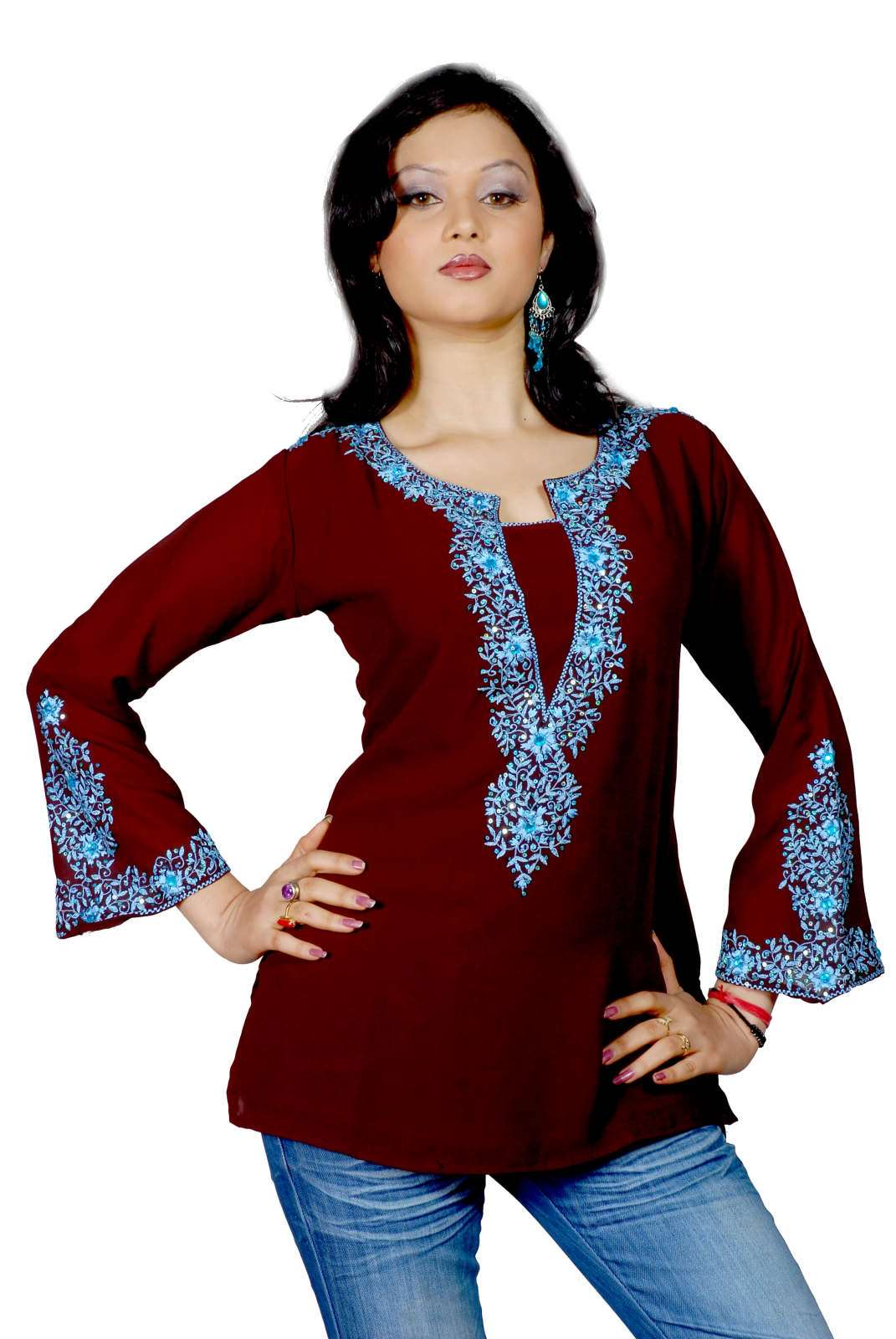 Dark brown long sleeves KurtiTunic with heavy embroidery plus size,  plus size fashion plus size appare