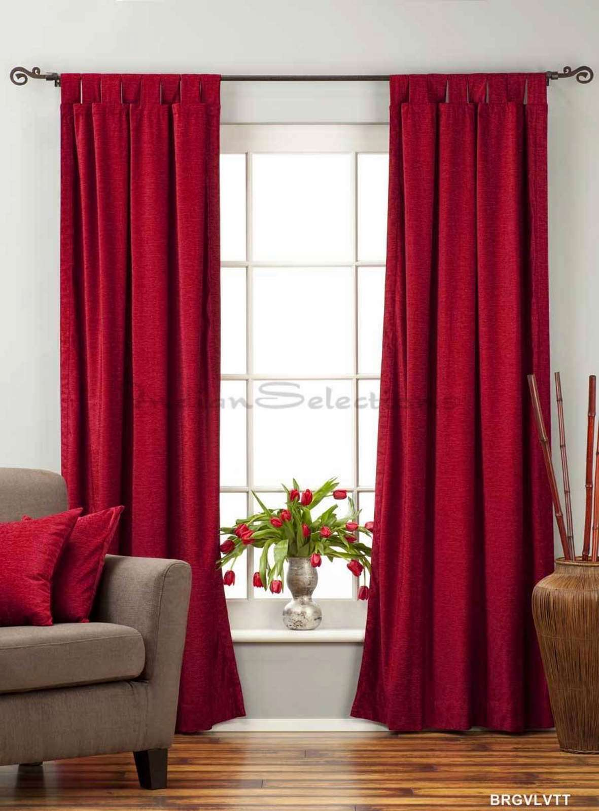 Lined-Burgundy Tab Top  Velvet Curtain  Drape  Panel   - 43W x 84L - Piece