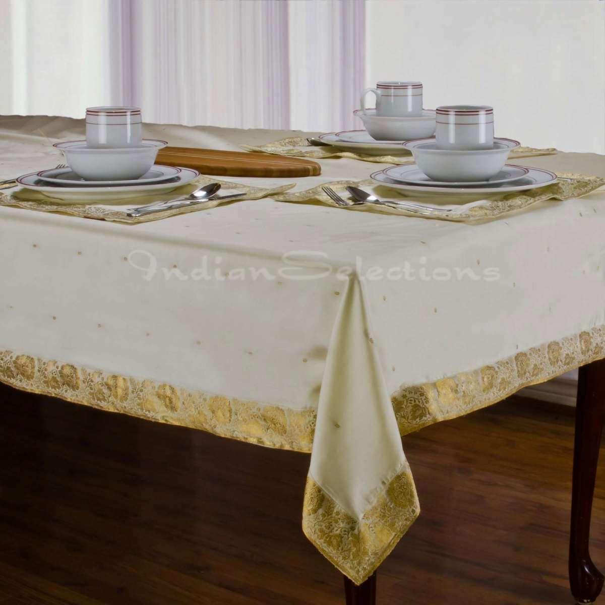 "Cream - Handmade Sari Oblong Tablecloth (India) - 60 X 102"""