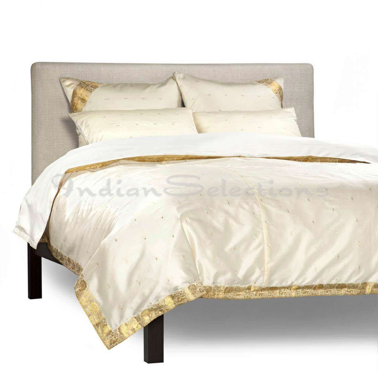 Cream-5 Piece Handmade Sari Duvet Cover Set with Pillow Covers  Euro Sham-Queen