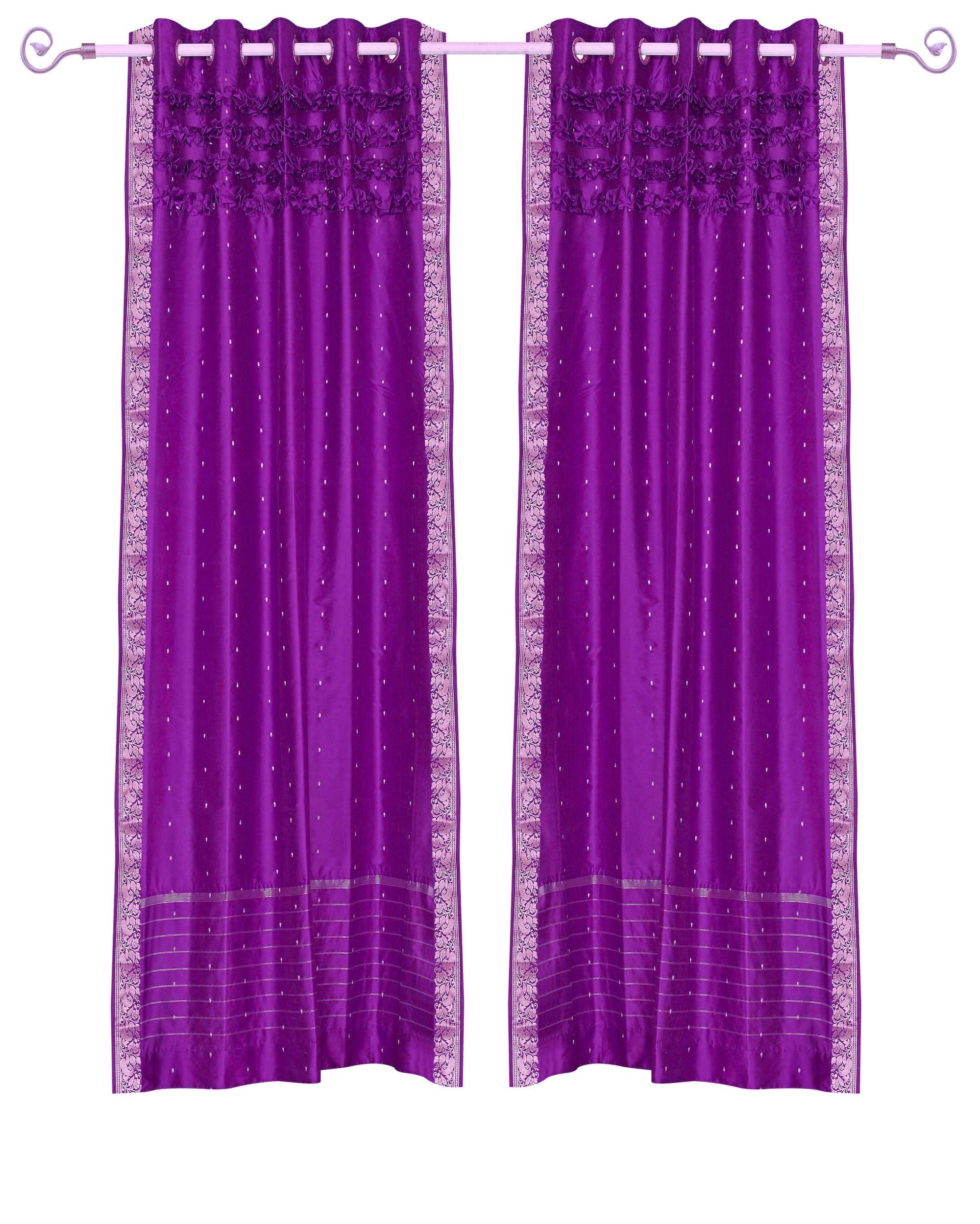 Violet Red Hand Crafted Grommet Top  Sheer Sari Curtain  Drape  Panel   - 43W x 108L - Piece