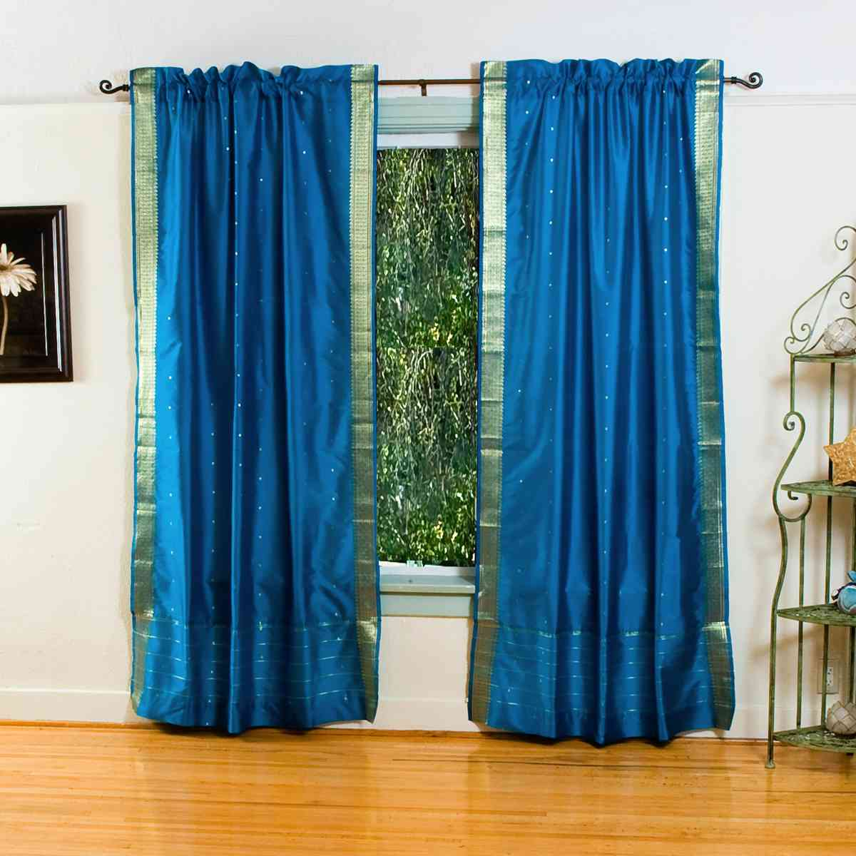 Turquoise Rod Pocket Sheer Sari Curtain / Drape / Panel