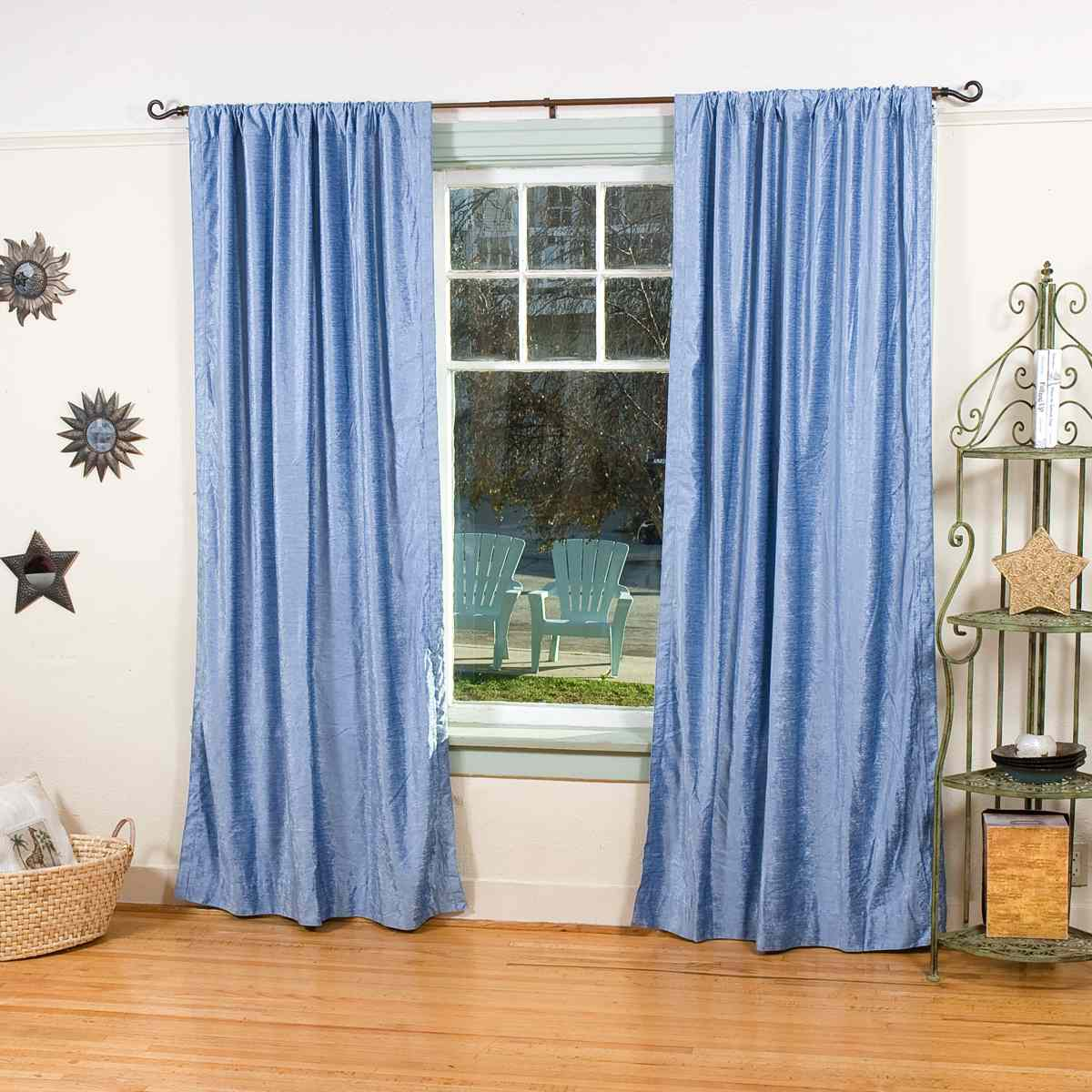 Light Blue Rod Pocket Velvet Curtain / Drape / Panel ...