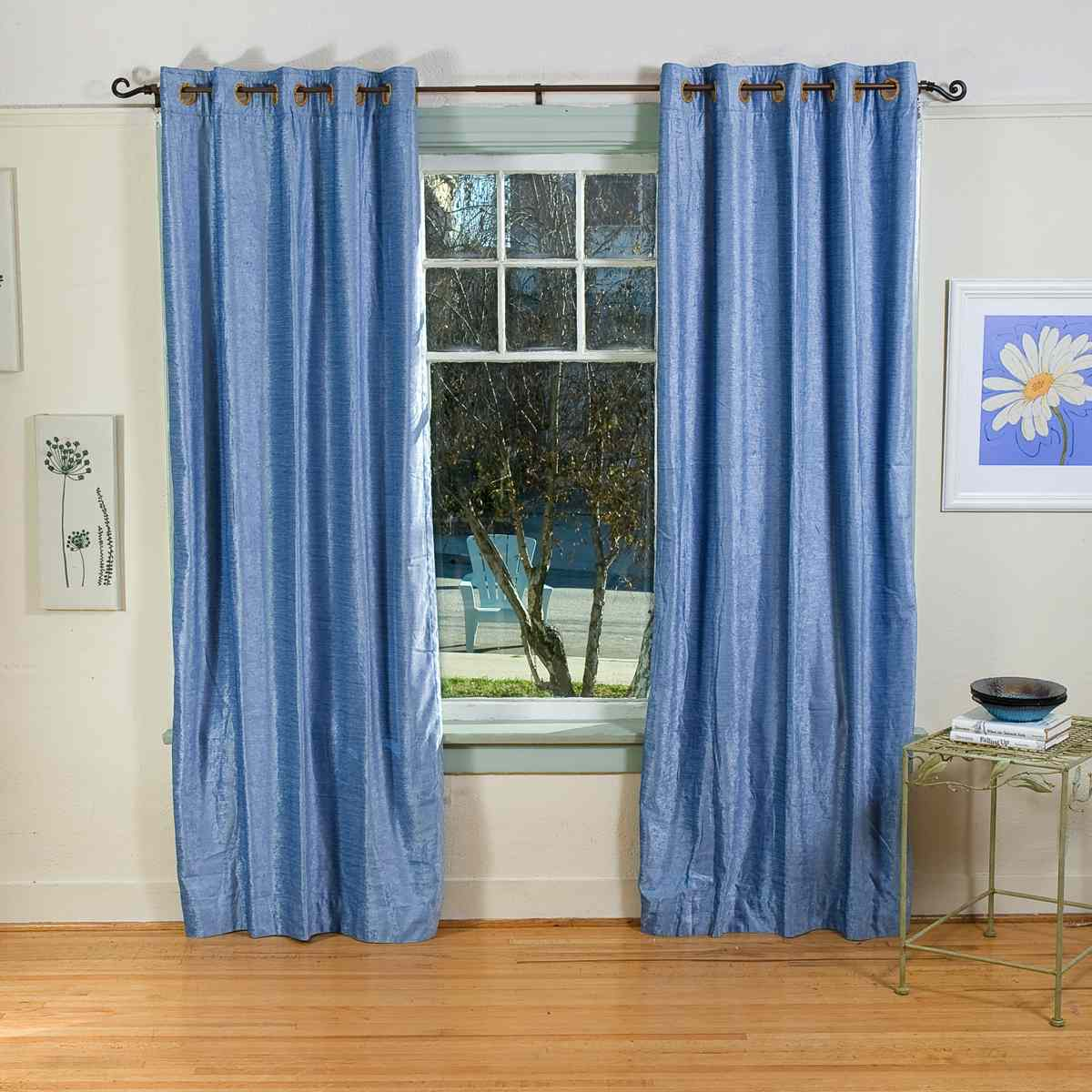 Light Blue Ring / Grommet Top Velvet Curtain / Drape ...