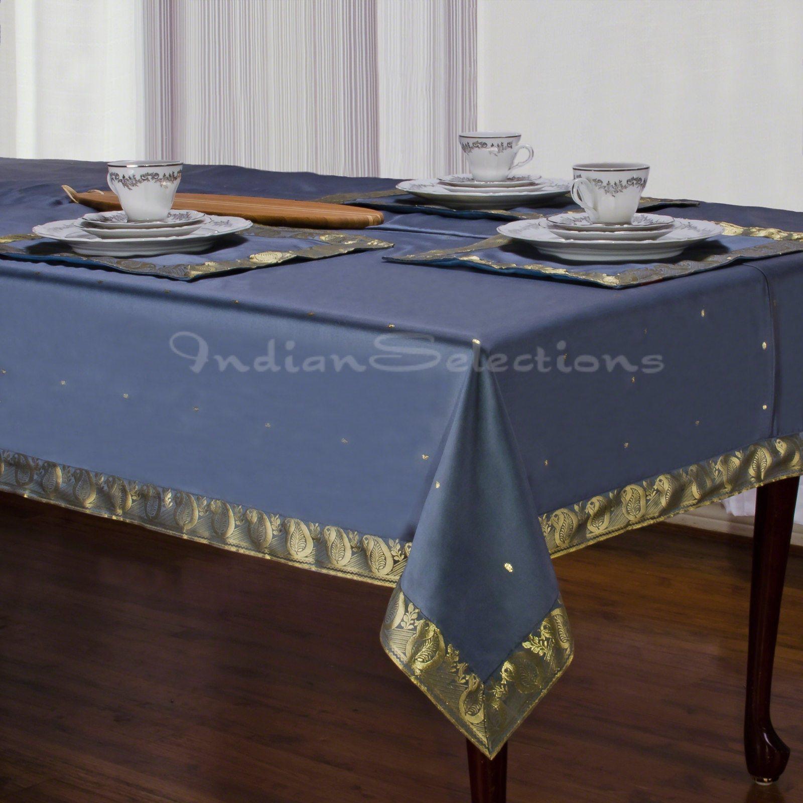 "Dark Gray - Handmade Sari Oblong Tablecloth (India) - 60 x 144"""