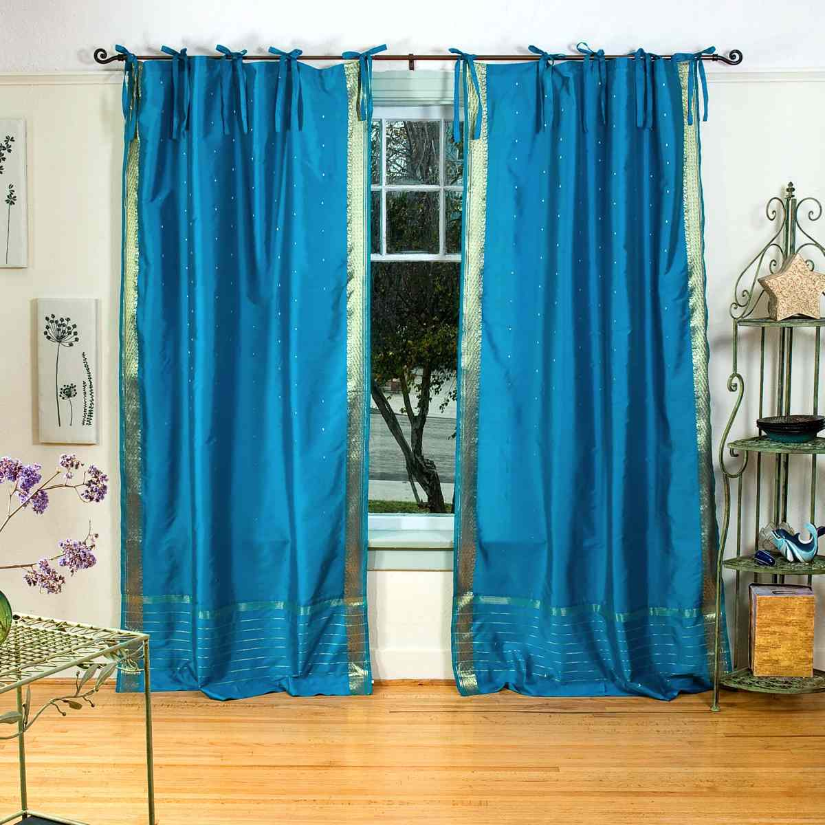 Turquoise Tie Top Sheer Sari Curtain / Drape / Panel