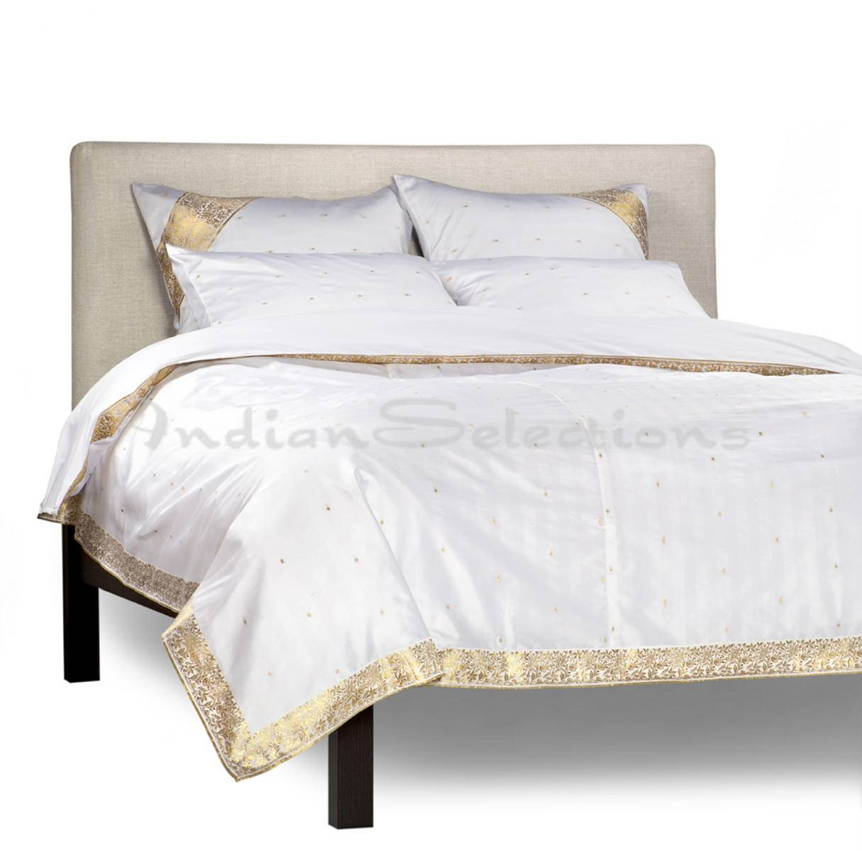 White Gold-5 Piece Sari Duvet Cover Set w Pillow CoversEuro Sham-CA King