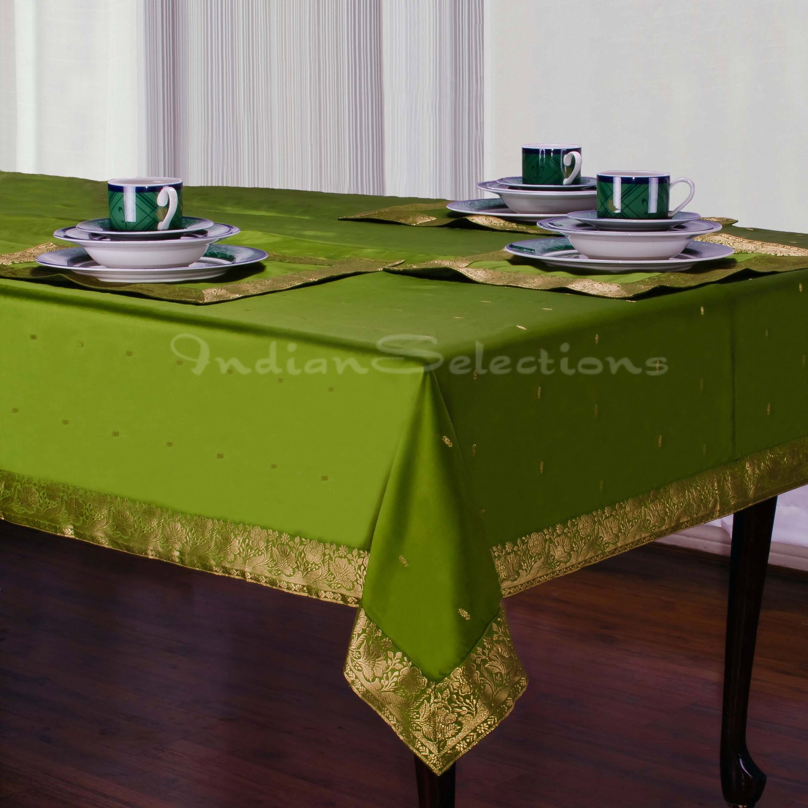 """Forest Green - Handmade Sari Oblong Tablecloth (India) - 60 X 102"""""""