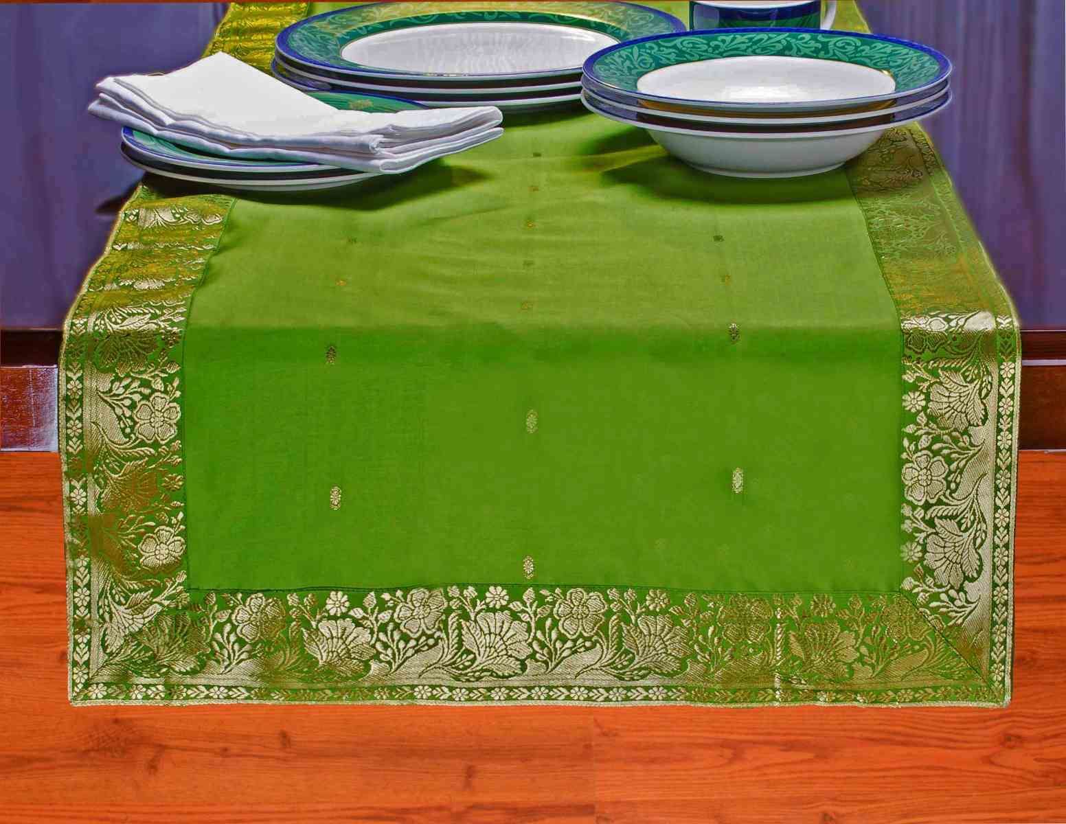 Forest Green - Hand Crafted Table Runner (India) - 14 X 84 Inches