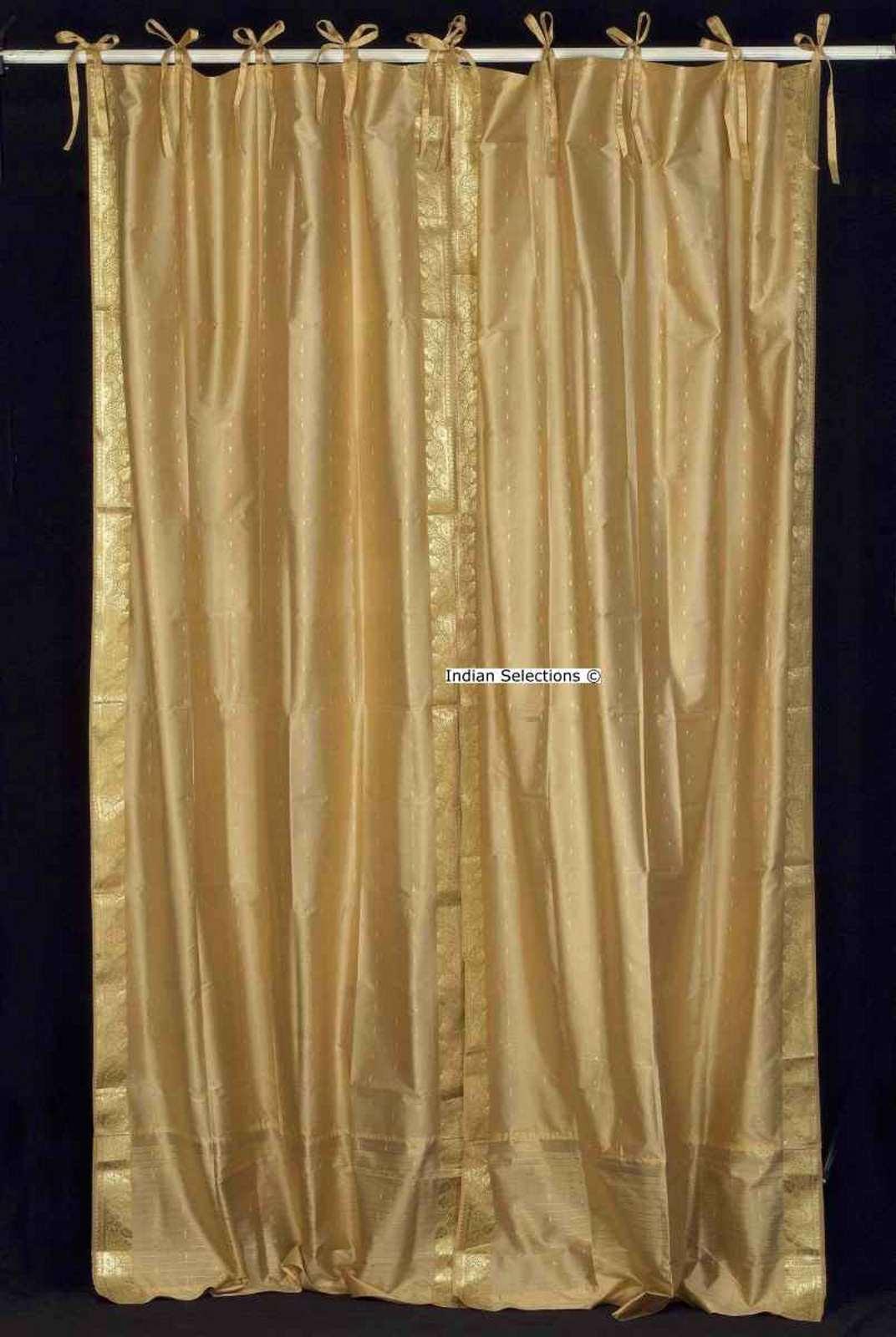 Lined-Golden  Tie Top  Sheer Sari Curtain  Drape  Panel   - 80W x 63L - Pair