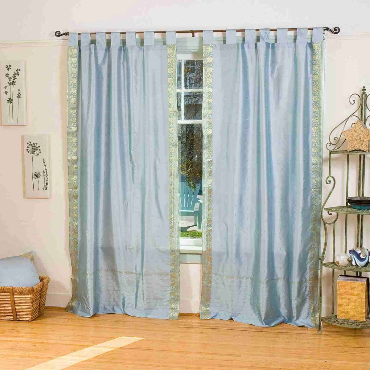 Lined-Gray  Tab Top  Sheer Sari Curtain  Drape  Panel   - 80W x 108L - Piece
