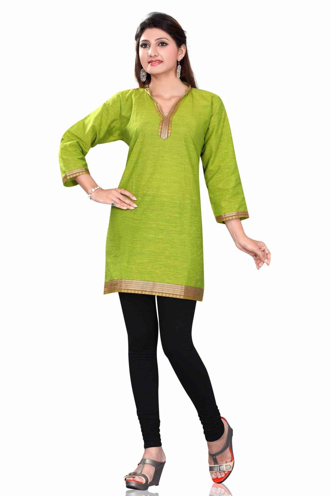 Green 34 sleeve Indian Cotton KurtiTunic with Golden neckline-Large