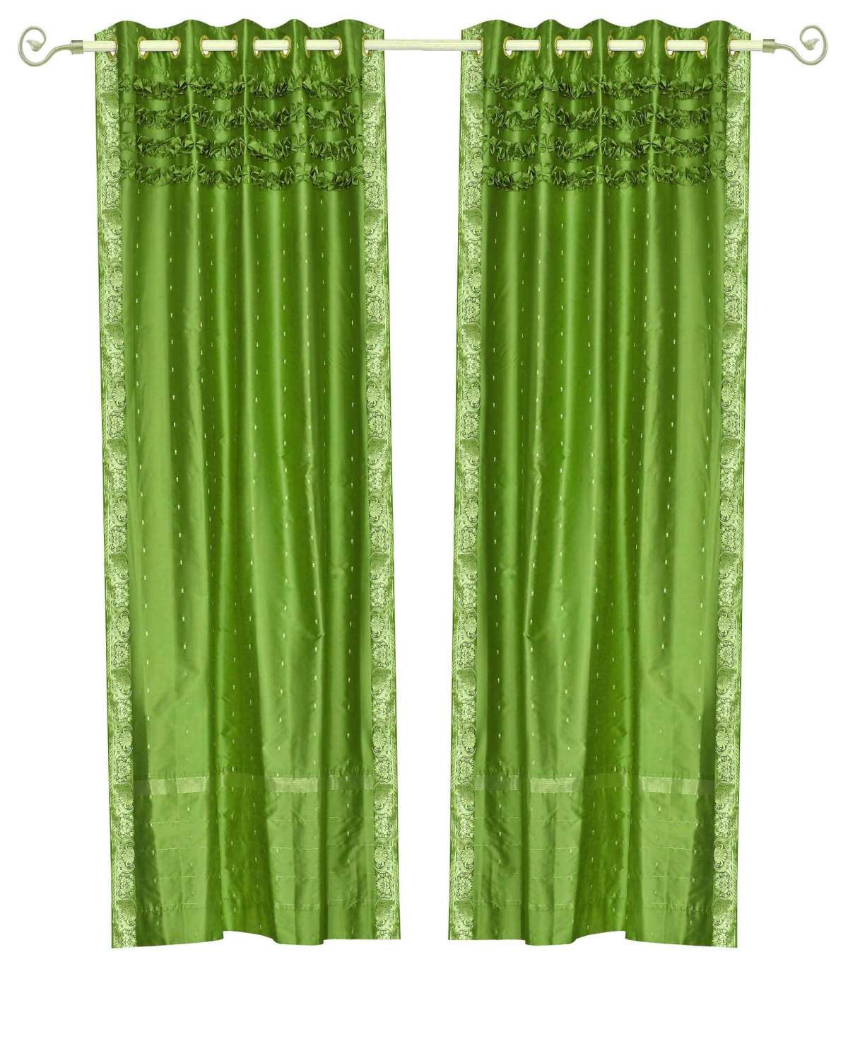 Forest Green Hand Crafted Grommet Top Sheer Sari Curtain Panel -Piece CTHCFGPARENT
