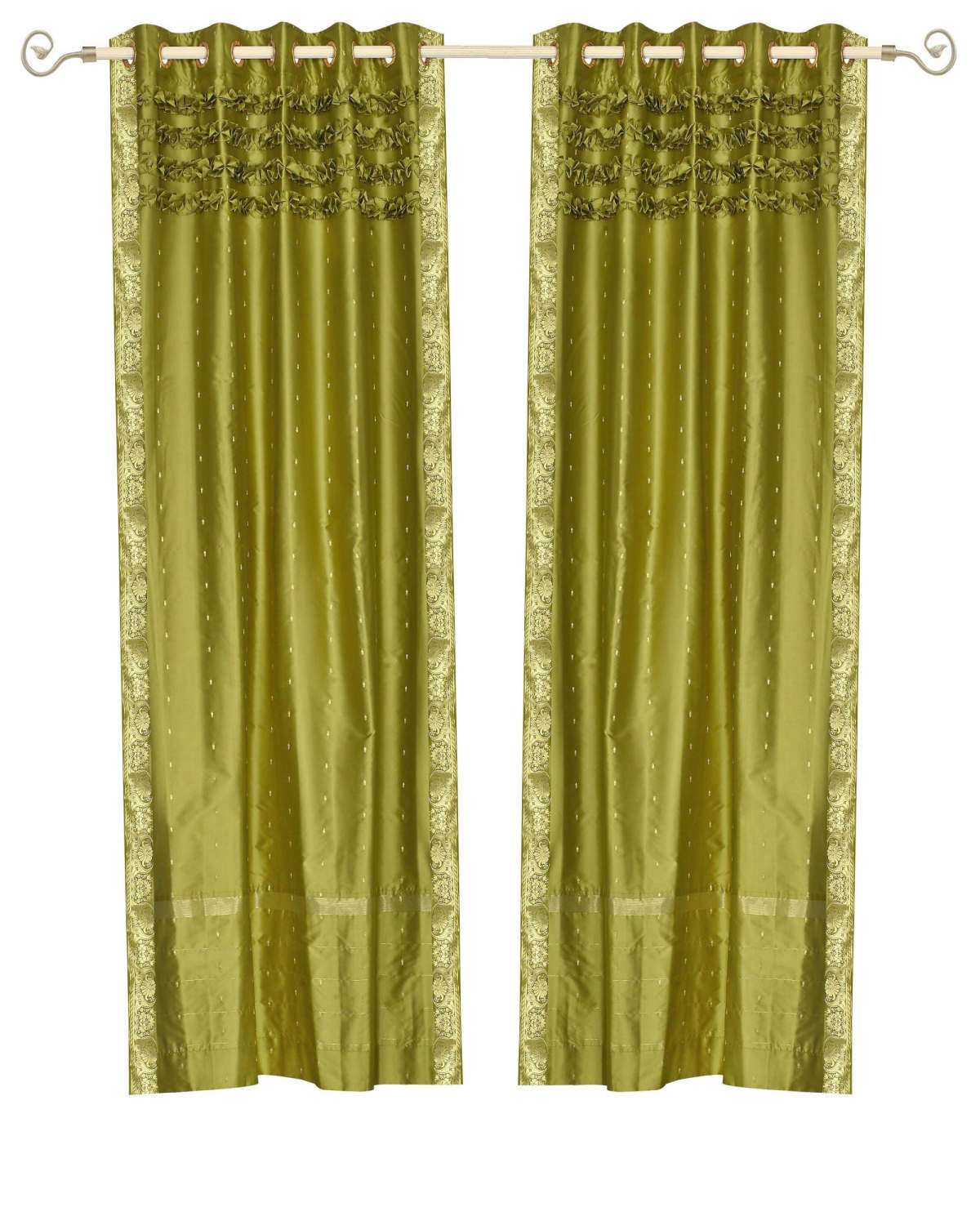 Lined-Olive Green Hand Crafted Grommet Top  Sheer Sari Curtain  Drape  Panel   - 43W x 96L - Piece