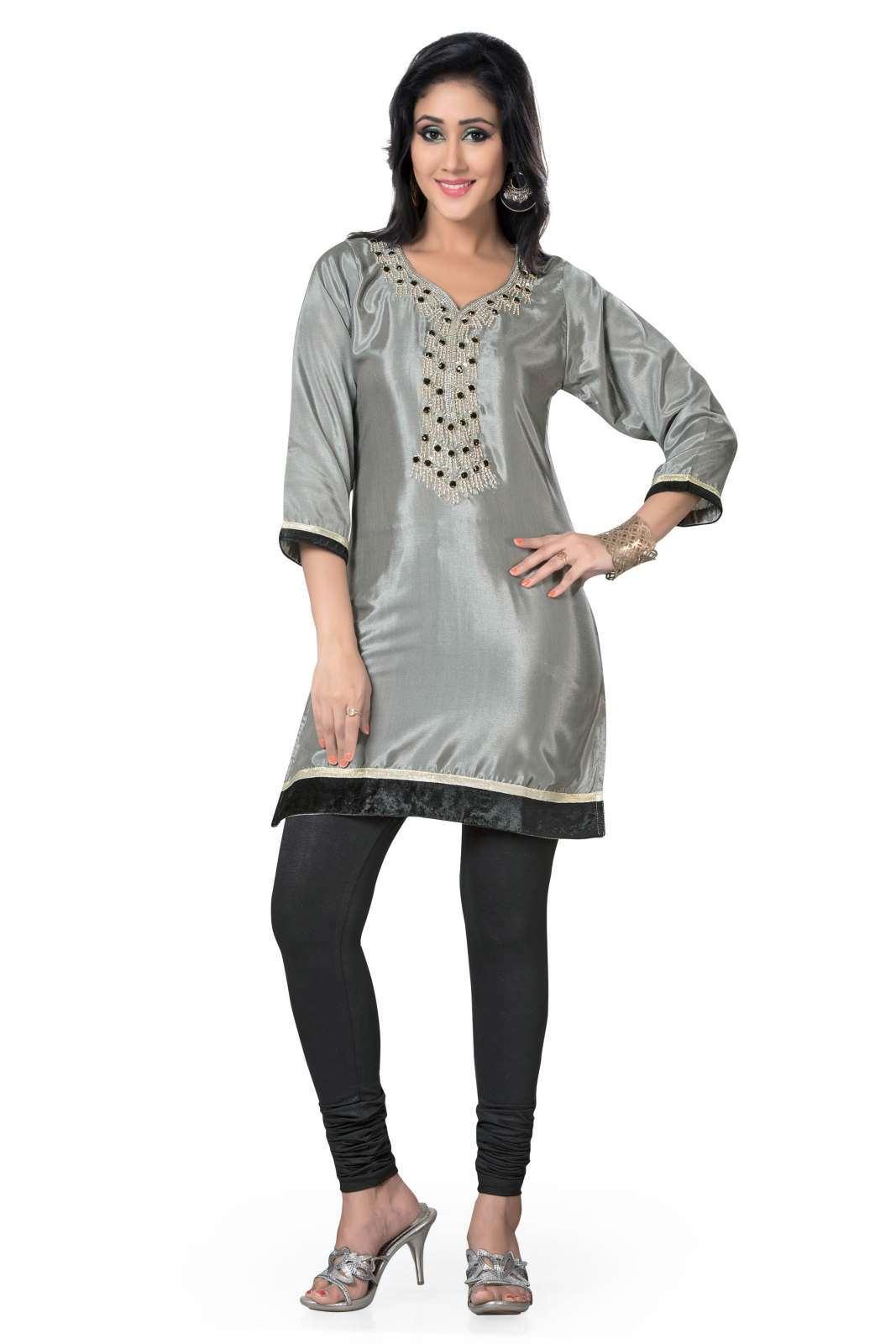 Grey 34 Sleeves designer Kurti Tunic (India) with beaded neckline - XL plus size,  plus size fashion plus size appare