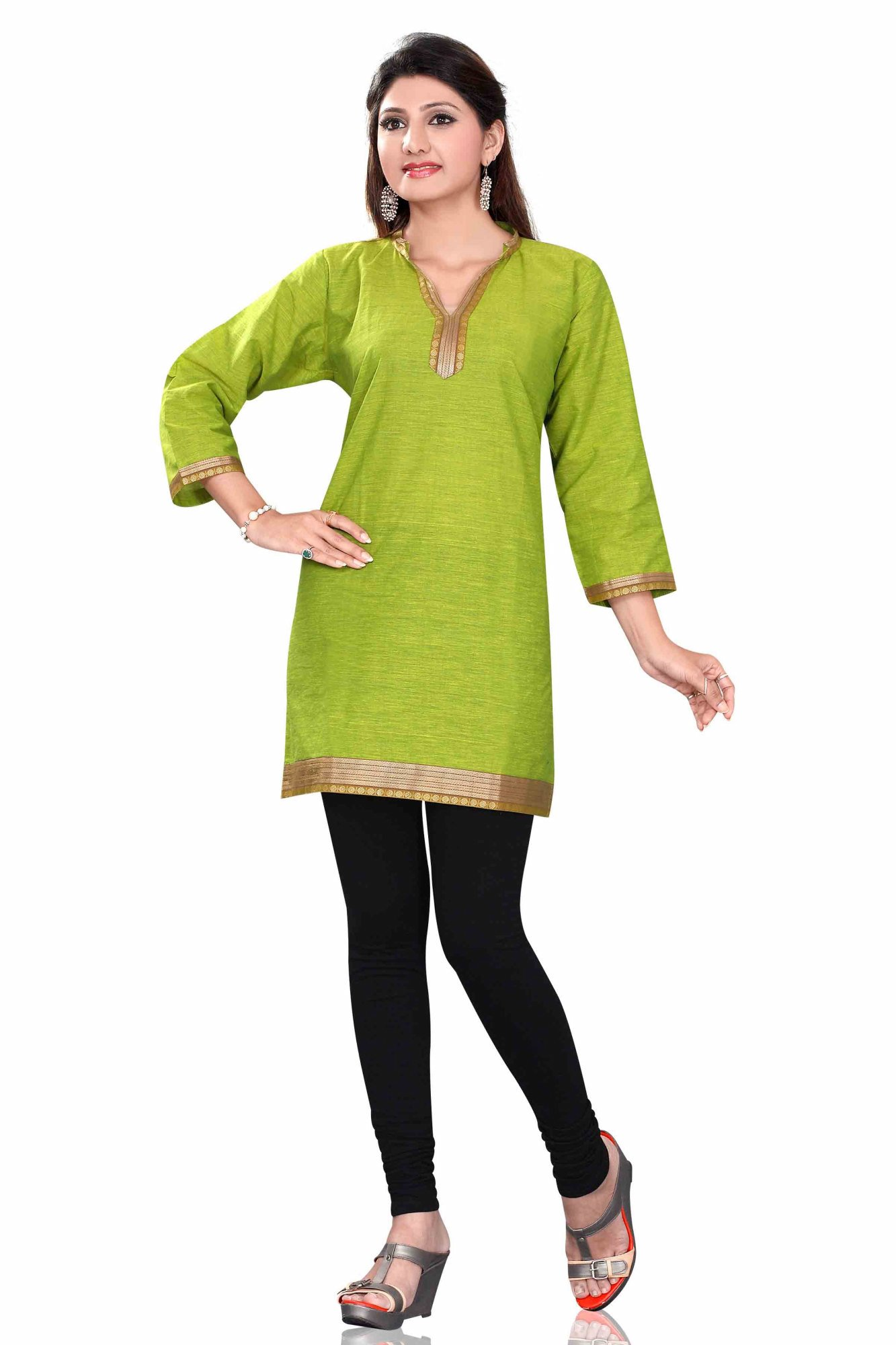 Green 34 sleeve Indian Cotton KurtiTunic with Golden neckline-Small