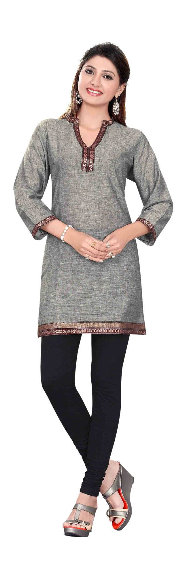 Gray 34 sleeve Indian Cotton KurtiTunic with Golden neckline-XX-Large
