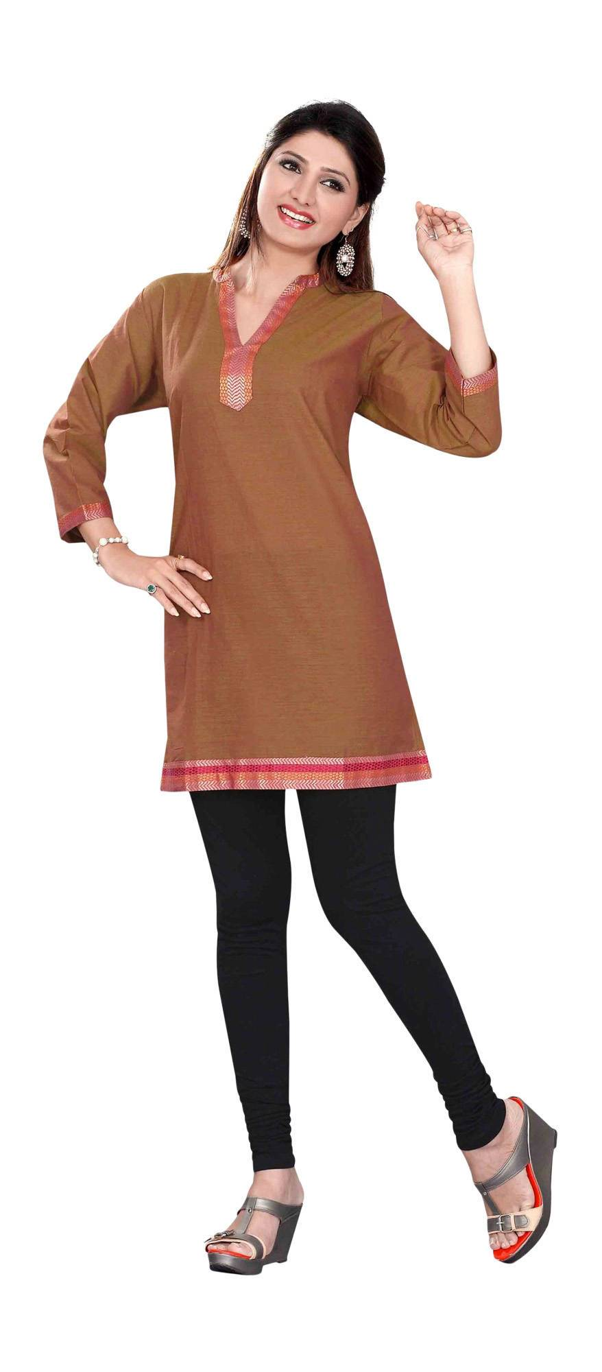 Brown 34 sleeve Indian Cotton KurtiTunic with Golden neckline-XX-Large