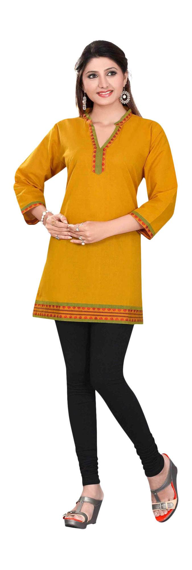 Mustard 34 sleeve Indian Cotton KurtiTunic with Golden neckline-Small