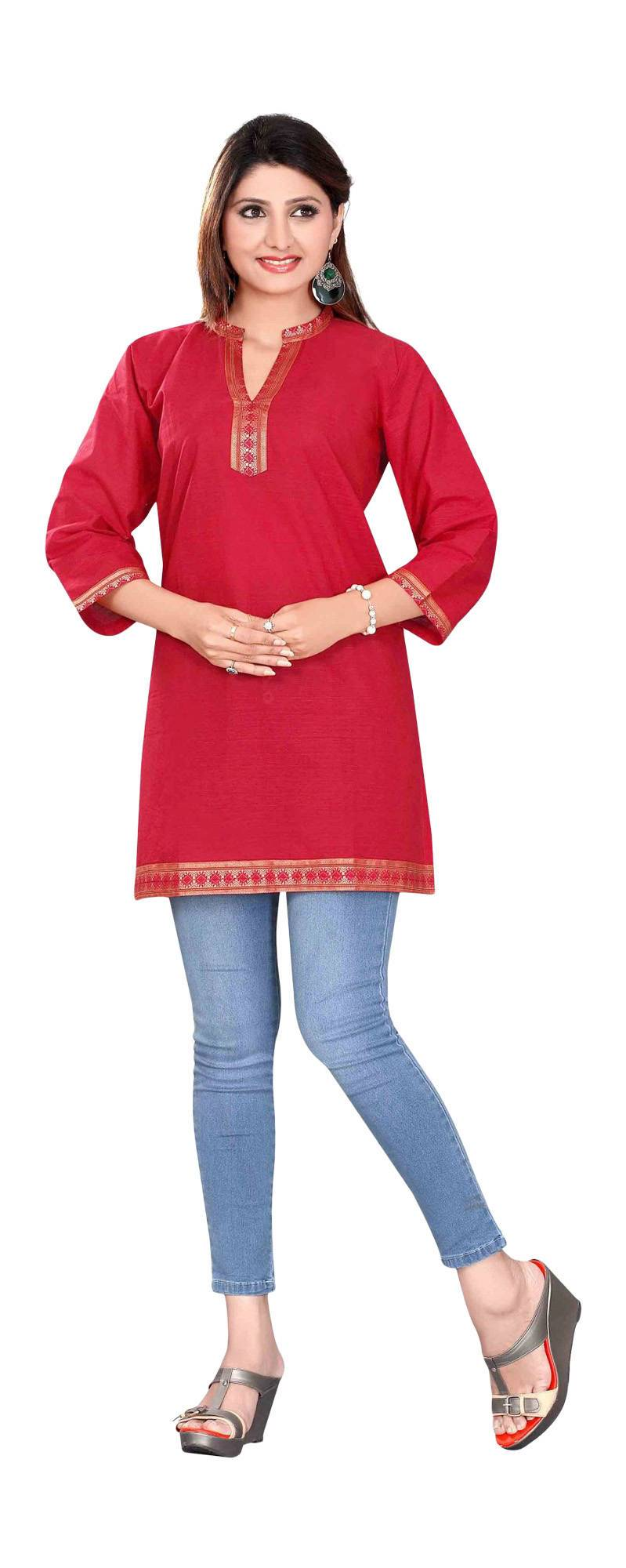 Red 34 sleeve Indian Cotton KurtiTunic with Golden neckline-Large