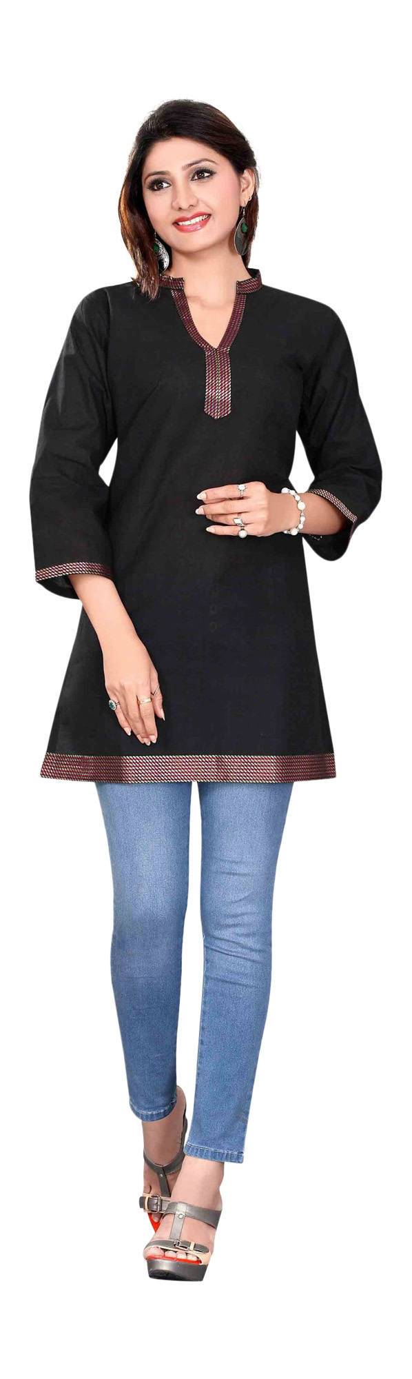 Black 34 sleeve Indian Cotton KurtiTunic with Golden neckline-XX-Large