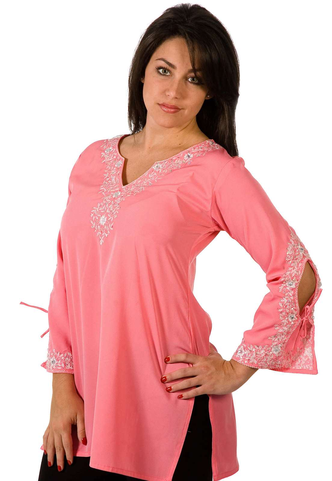 Indian Selections - Crepe Kurti Tunic with white neckline emroidery - X-Large plus size,  plus size fashion plus size appare